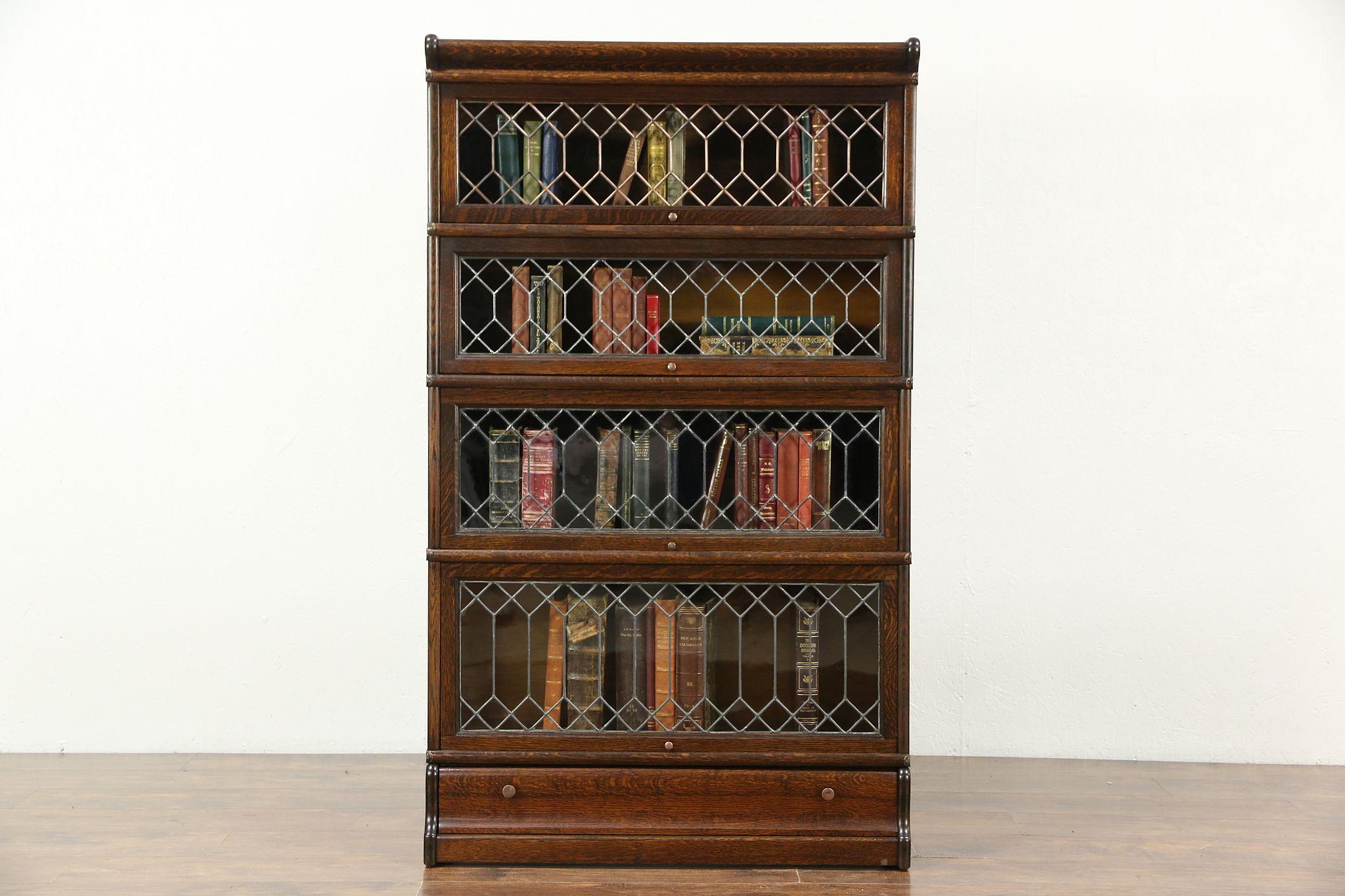 Oak 1900 Antique Stacking Bookcase 4 Leaded Glass Doors Globe Macey