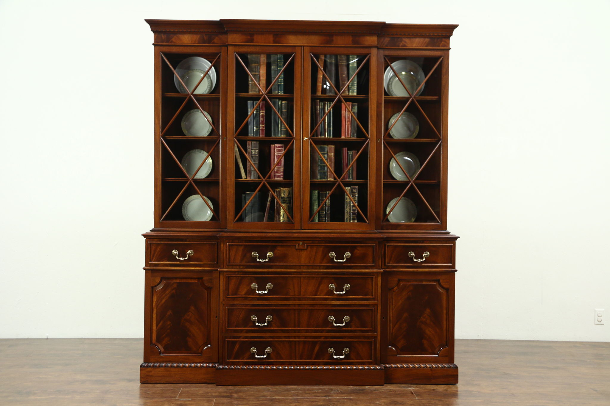 Mahogany Vintage Breakfront China Cabinet Bookcase Desk Signed Saginaw