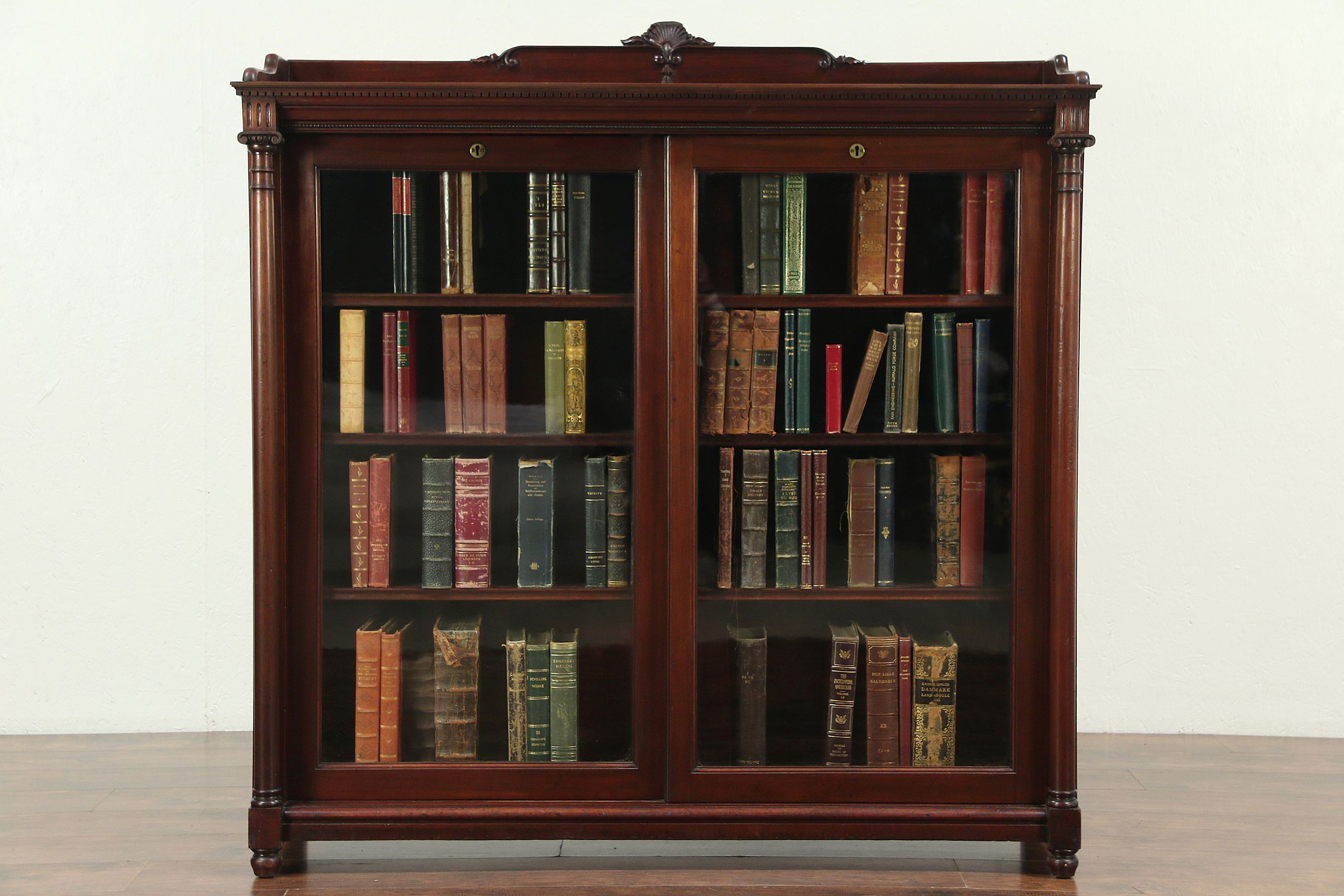 Sold Mahogany Antique Bookcase Sliding Wavy Glass Doors Signed Paine Boston 28927 Harp Gallery Antiques Furniture