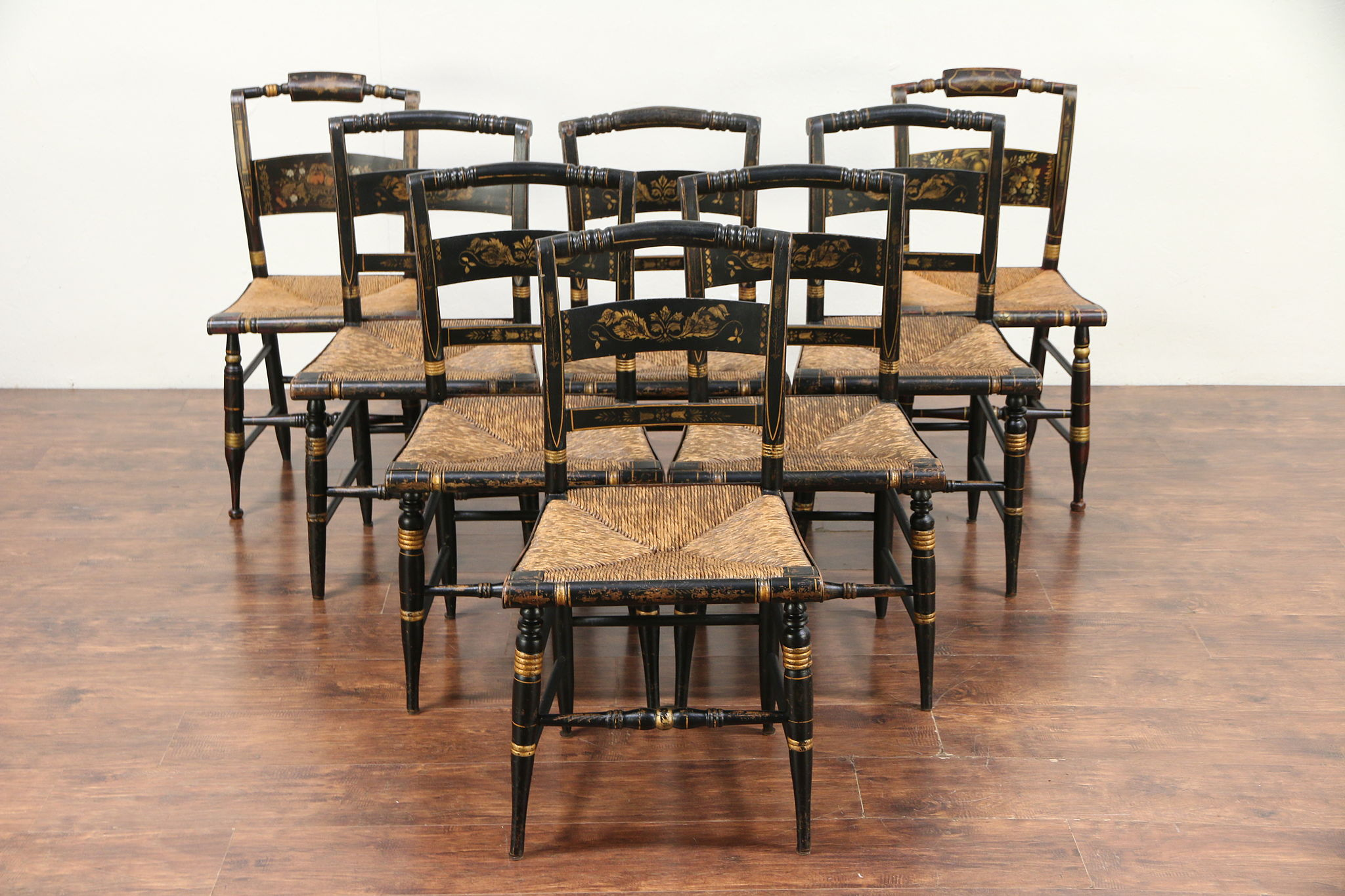 Sold Set Of 8 Antique Hitchcock Stencil Hand Painted Rush Seat Dining Chairs 29784 Harp Gallery Antiques Furniture