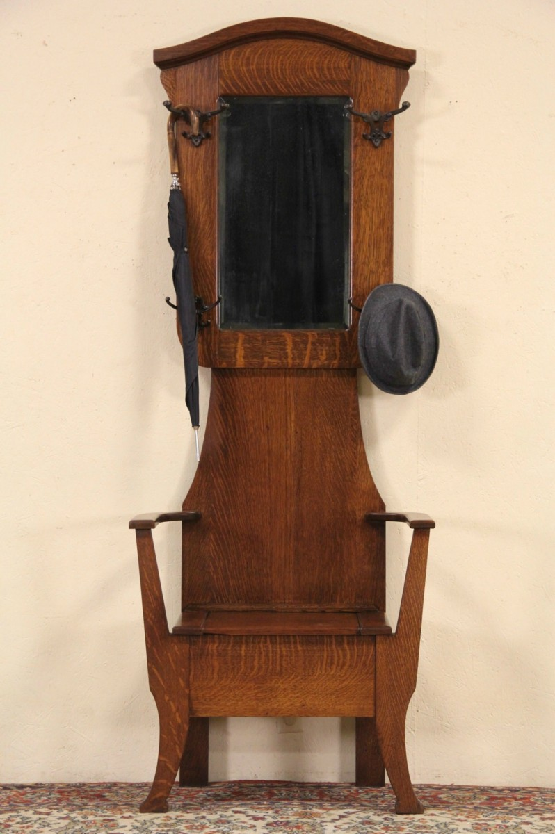 Sold Oak 1900 Antique Hall Stand Coat Rack Mirror Amp Bench Harp Gallery