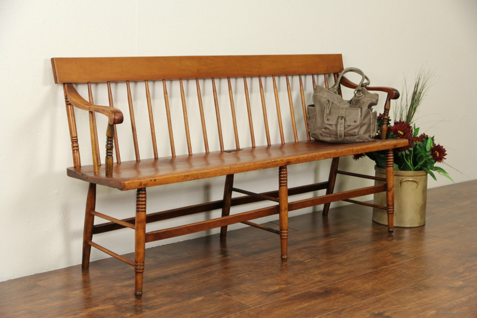 Sold Country Pine 1860 39 S Antique Hall Or Deacon Bench Harp Gallery Antique Furniture