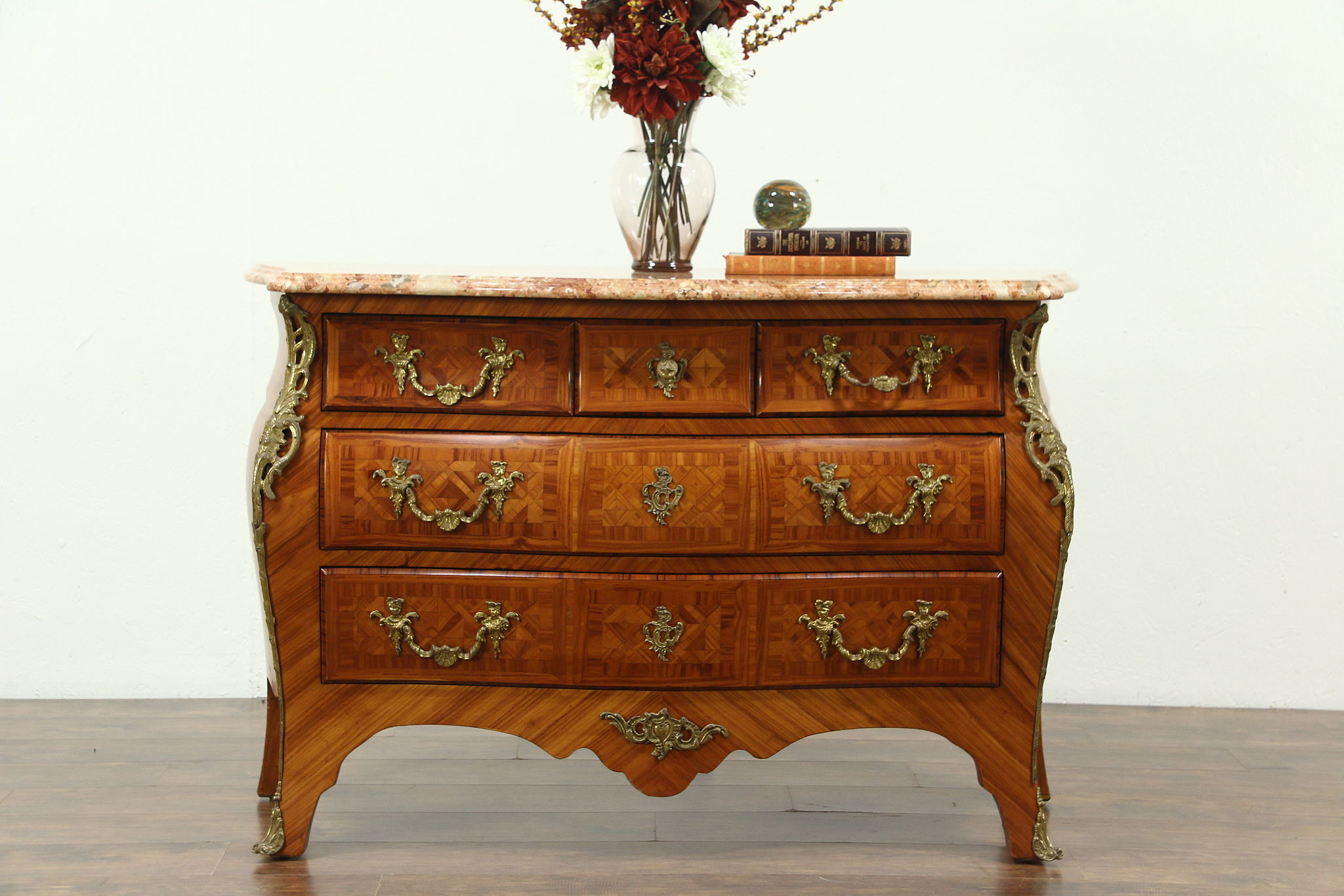 Italian Vintage Marble Top Tulipwood Marquetry Bombe Chest Or Commode ...