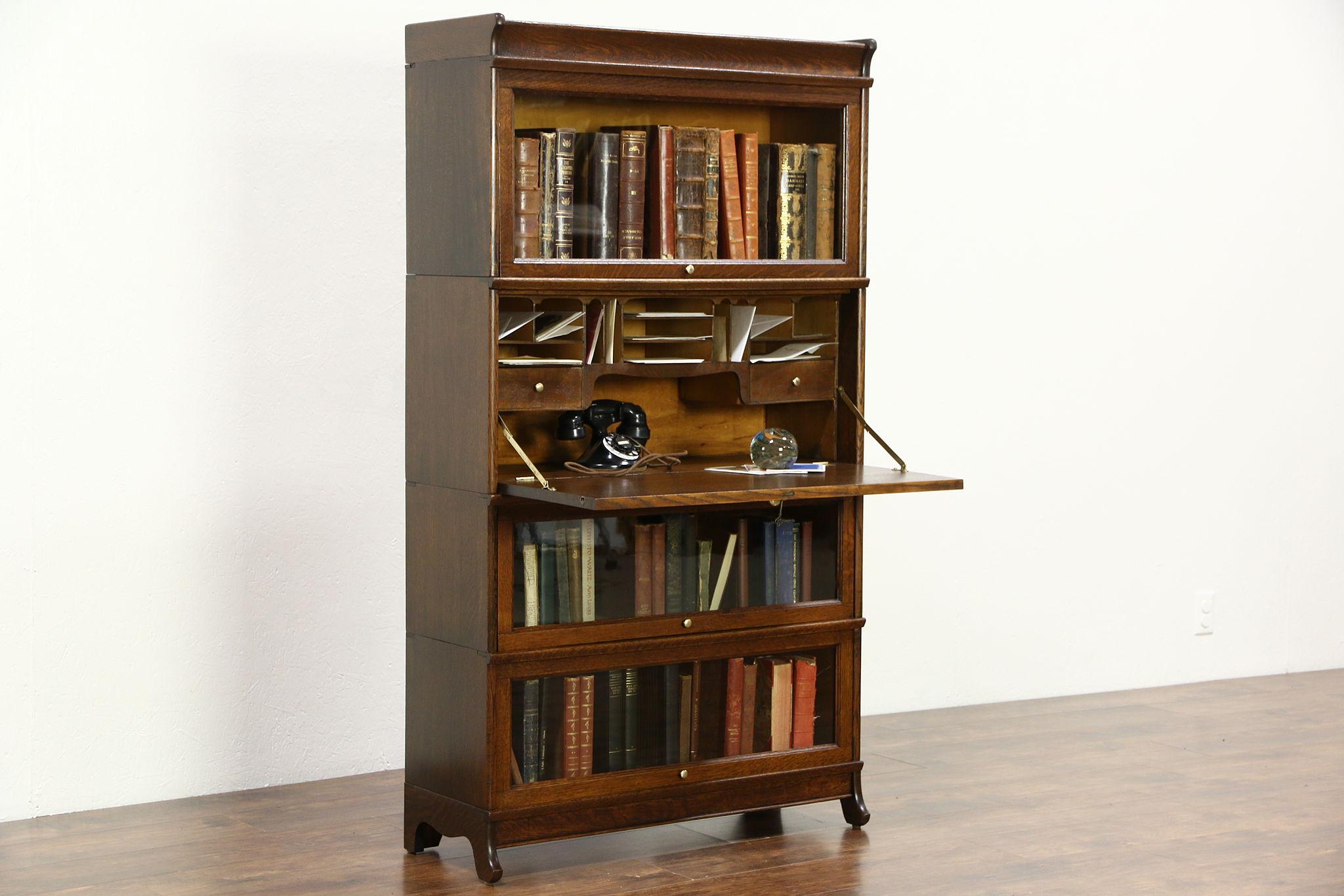Oak Antique 1900 Lawyer 3 Stack Library Bookcase Secretary Desk