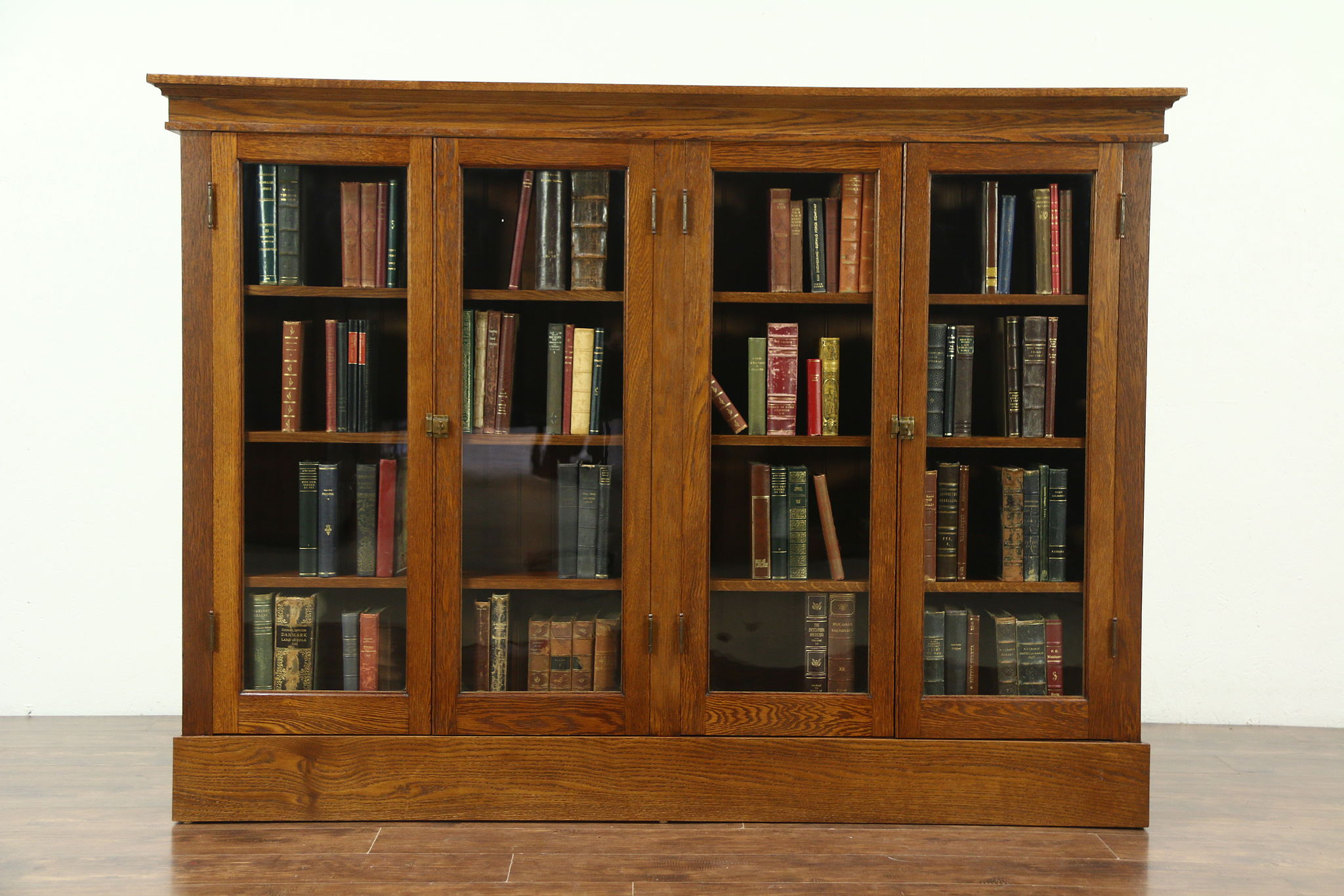 sold oak 1900 antique library bookcase 4 wavy glass doors rh harpgallery com