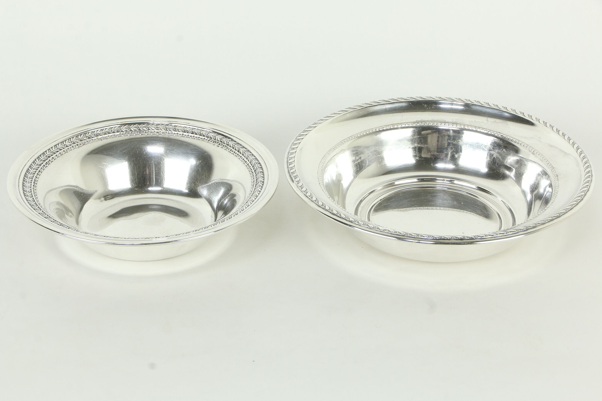 Sold Two Sterling Silver Vintage Serving Bowls Alvin Dh 33503 Harp Gallery Antiques Furniture