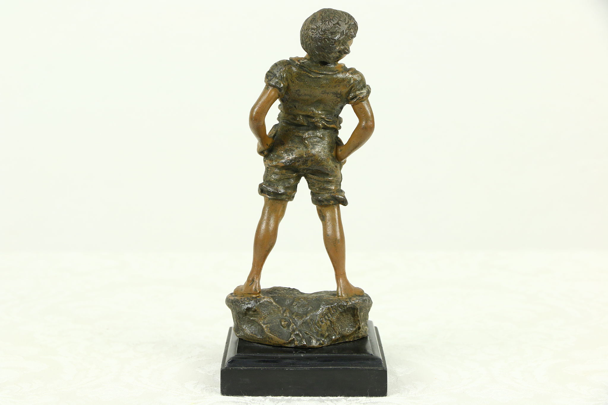 Statue Of A Boy Hand Painted 1900 Antique Sculpture Signed Carl Kaube