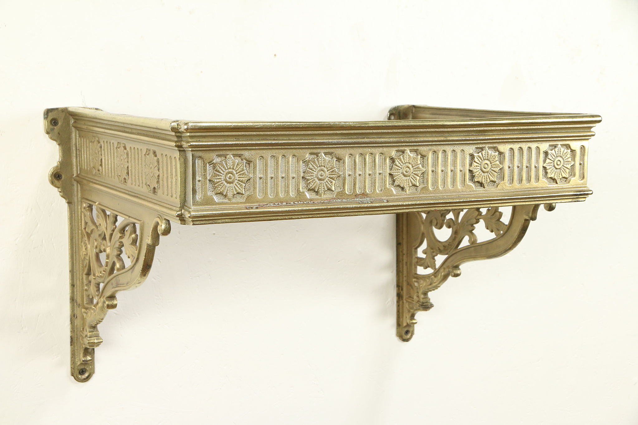 pretty nice c689d 282fa Antique Architectural Salvage Cast Brass Wall Shelf Holder #30892