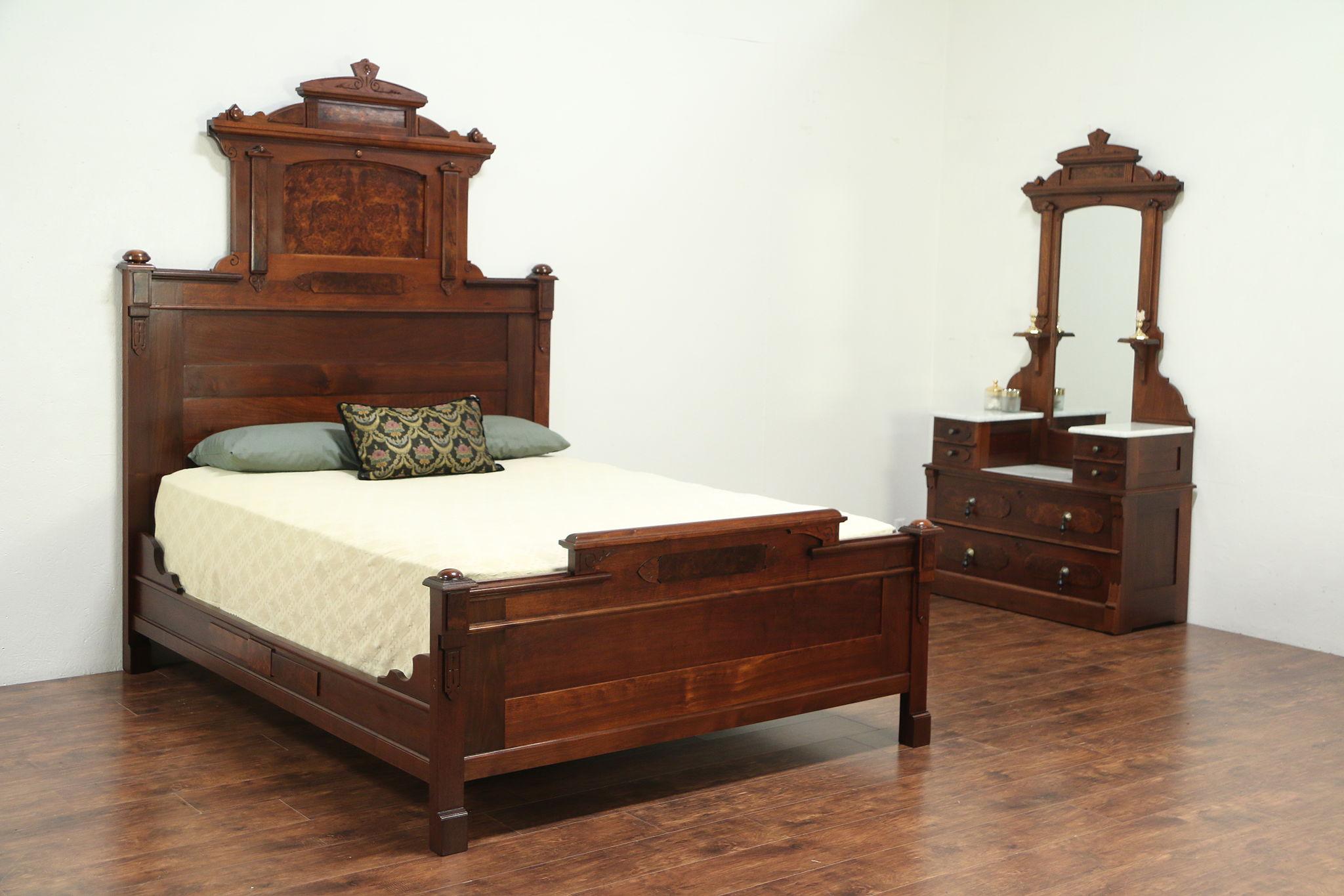 Victorian Antique Walnut Bedroom Set, Queen Size Bed, Marble Top Chest  #28954