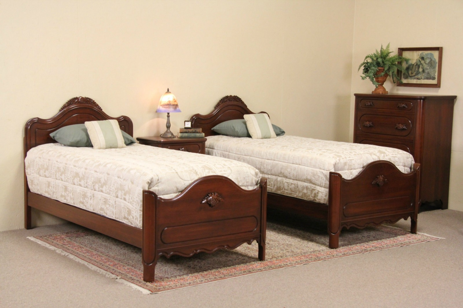 Davis Signed 1950 Vintage 4 Piece Bedroom Set, Twin Beds, Carved Grapes