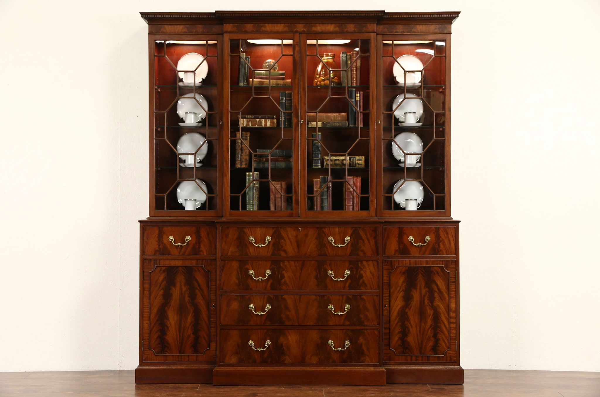 SOLD - English 1940's Vintage Georgian Breakfront China Cabinet ...