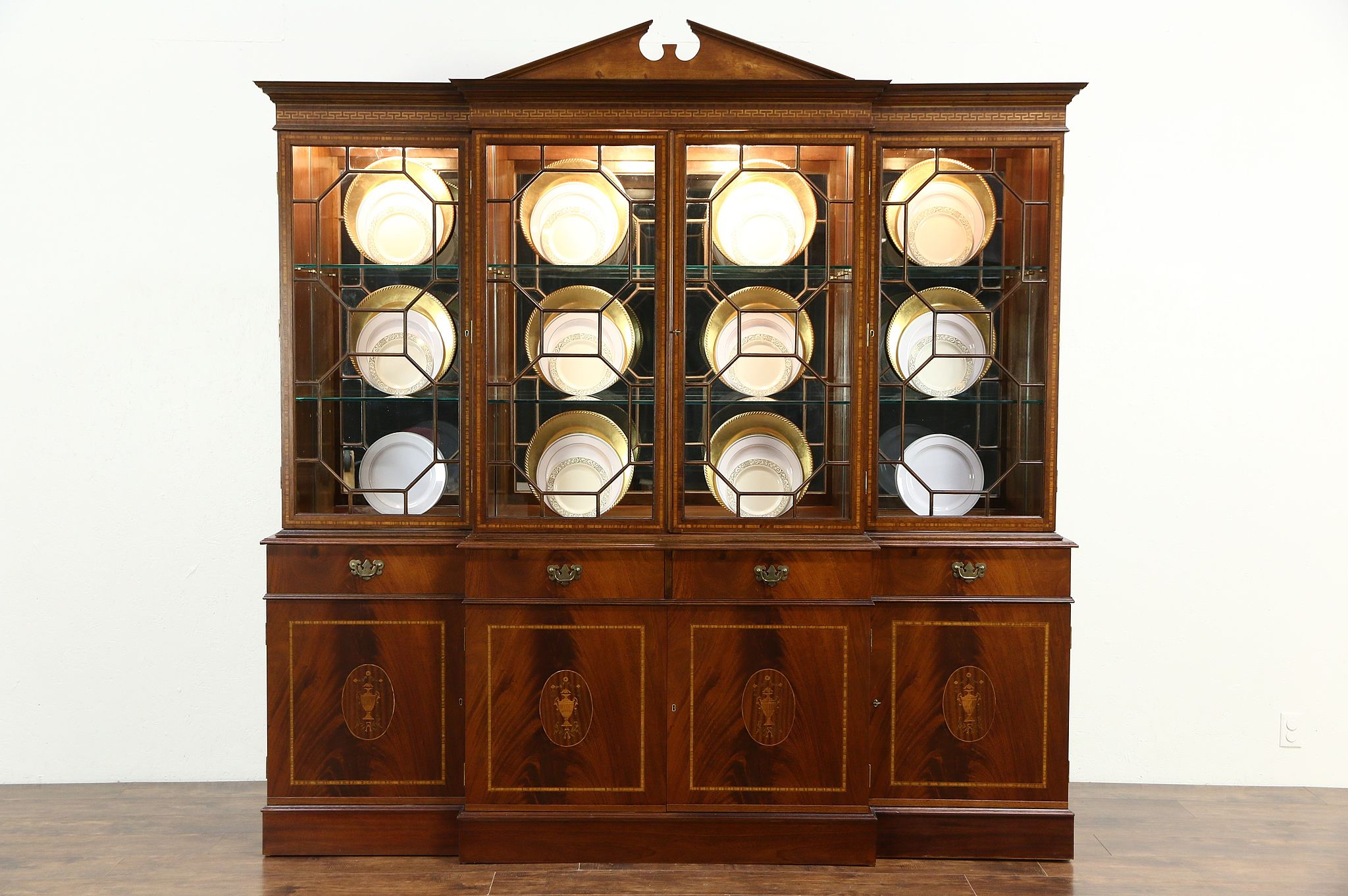 SOLD - Georgian English Vintage Mahogany Marquetry Breakfront ...