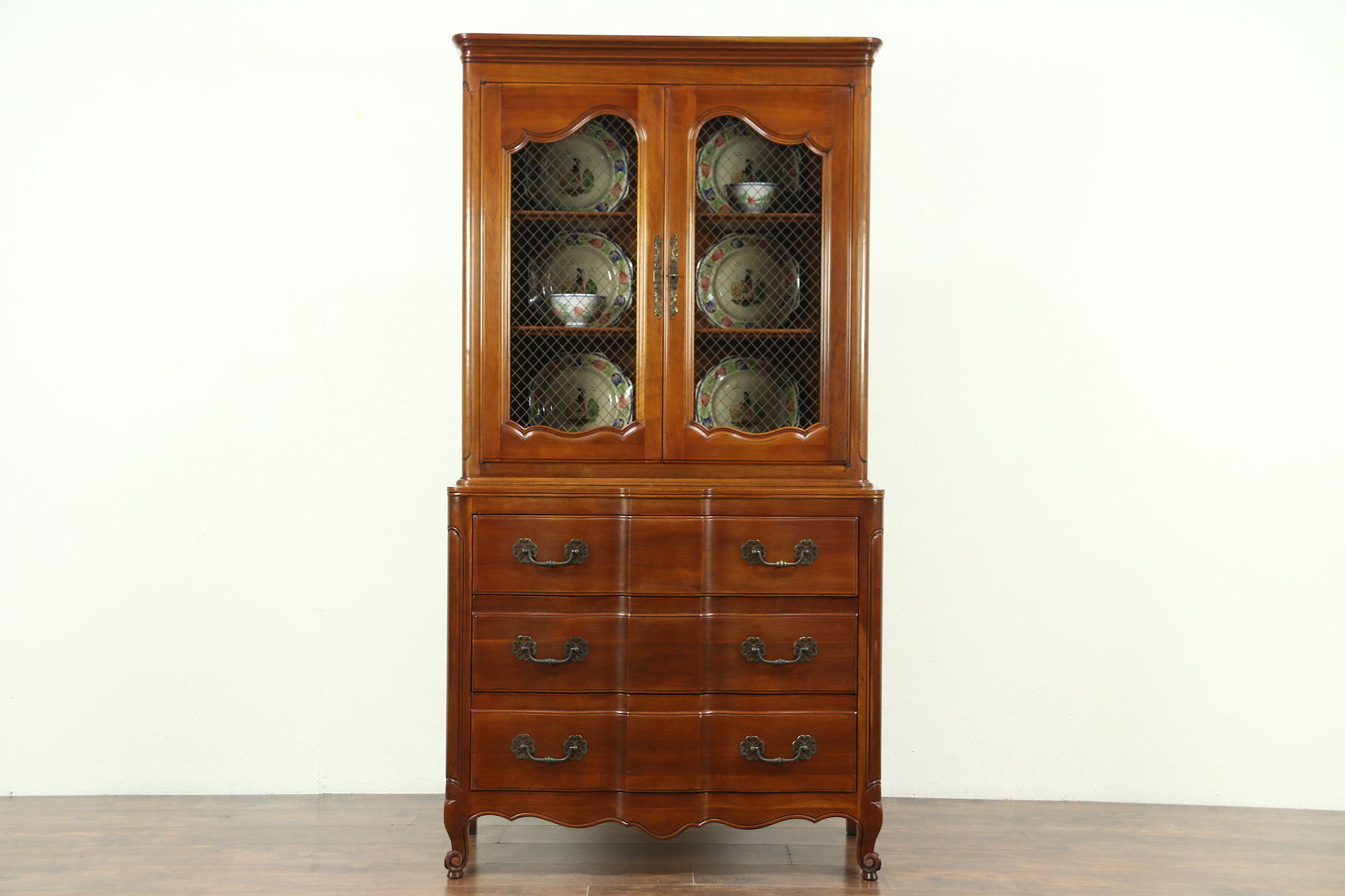 barley xiii antique hunters french louis pin hutch cabinet twist china cupboard