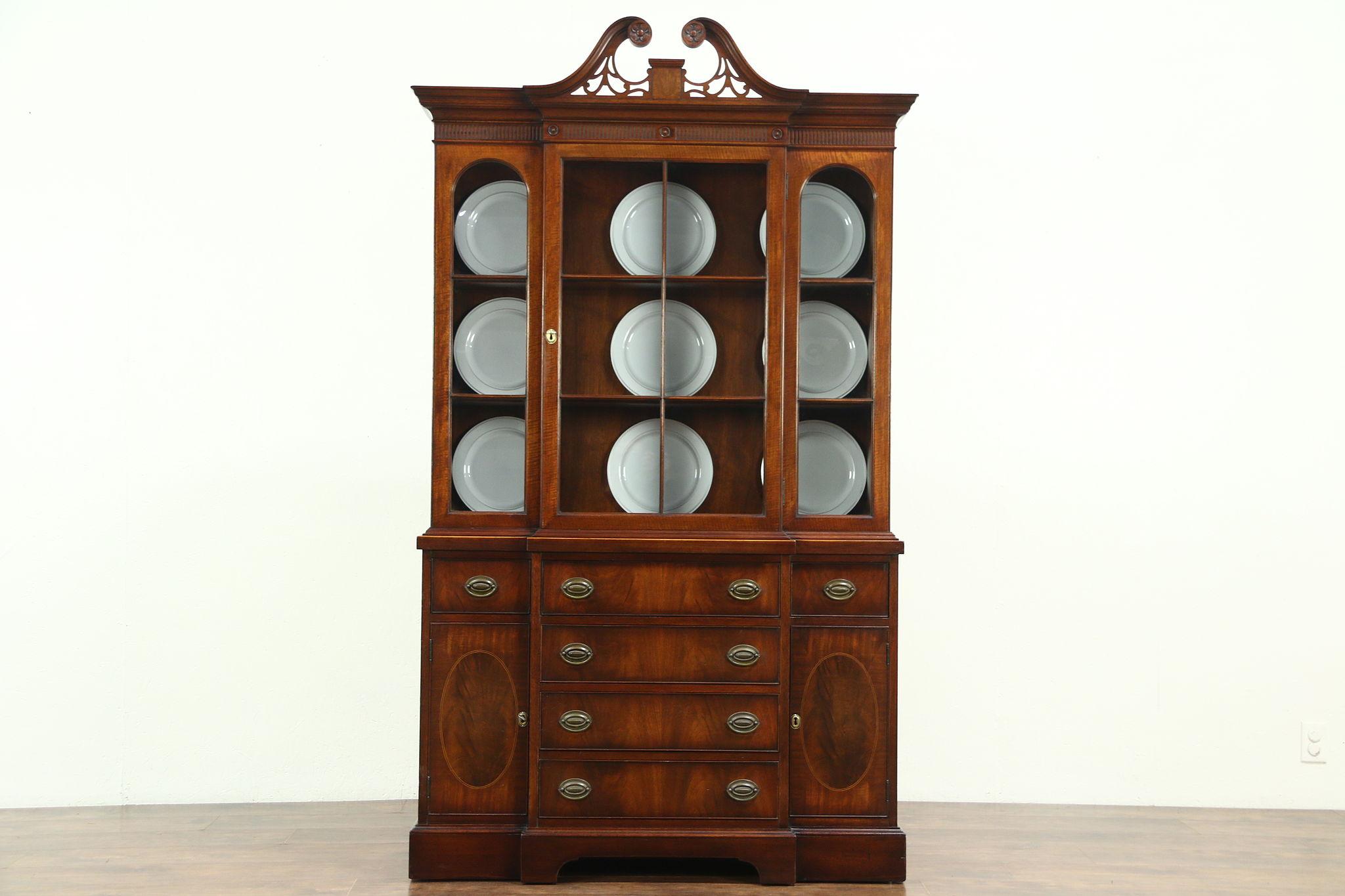 Traditional Vintage Mahogany Breakfront China Cabinet Or Bookcase Berkey Photo
