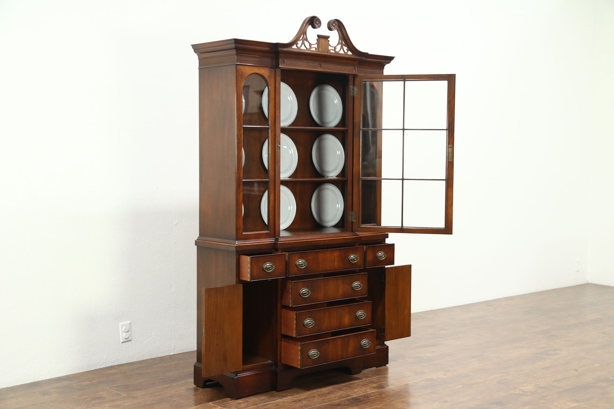 Traditional Vintage Mahogany Breakfront China Cabinet Or Bookcase, ...
