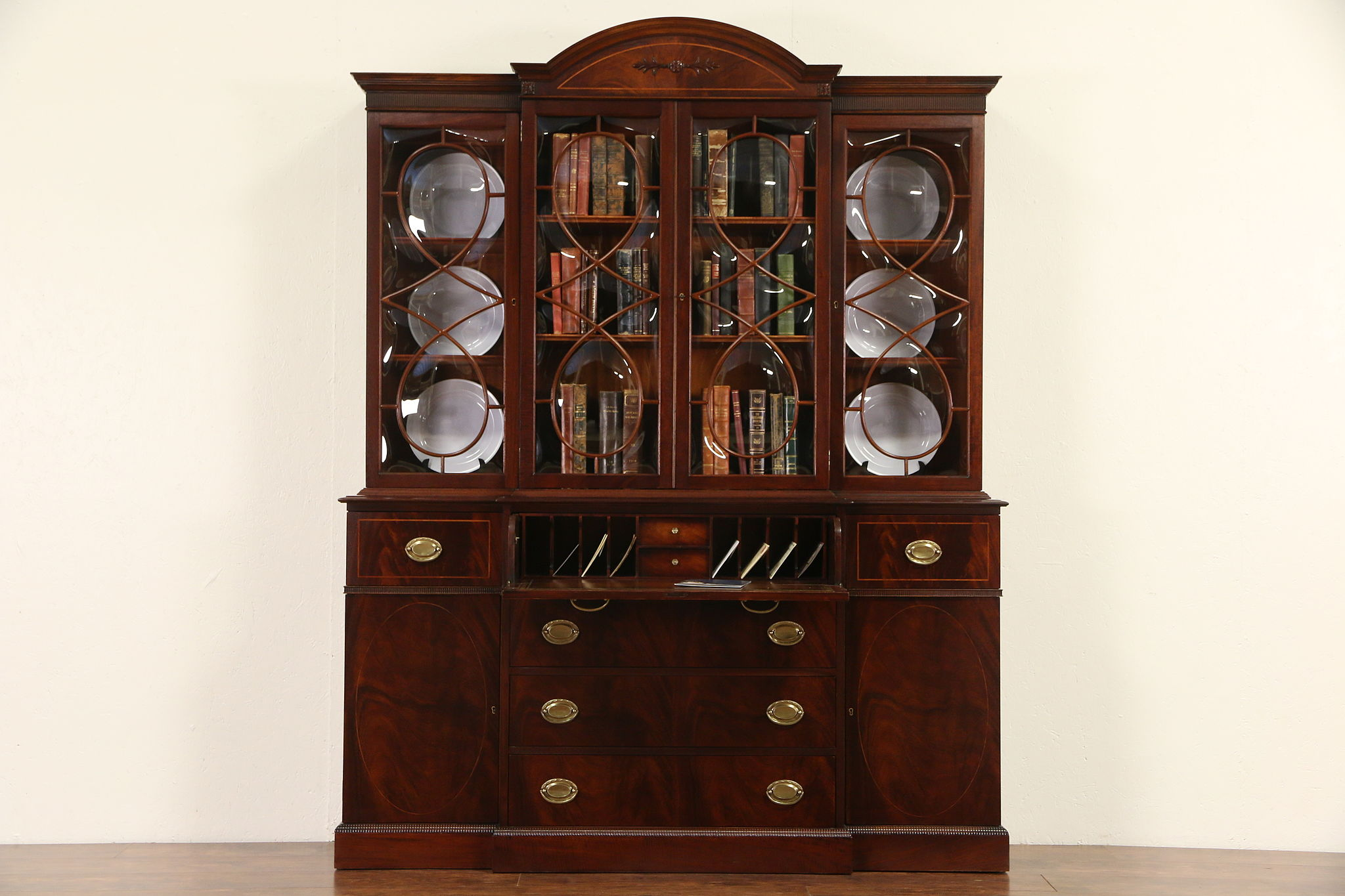 Attirant Traditional Mahogany Vintage Signed Breakfront China Cabinet Or Bookcase U0026  Desk
