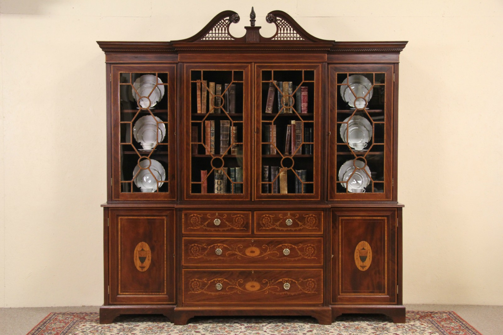 SOLD - English Georgian Design 1890's Antique Breakfront Bookcase ...