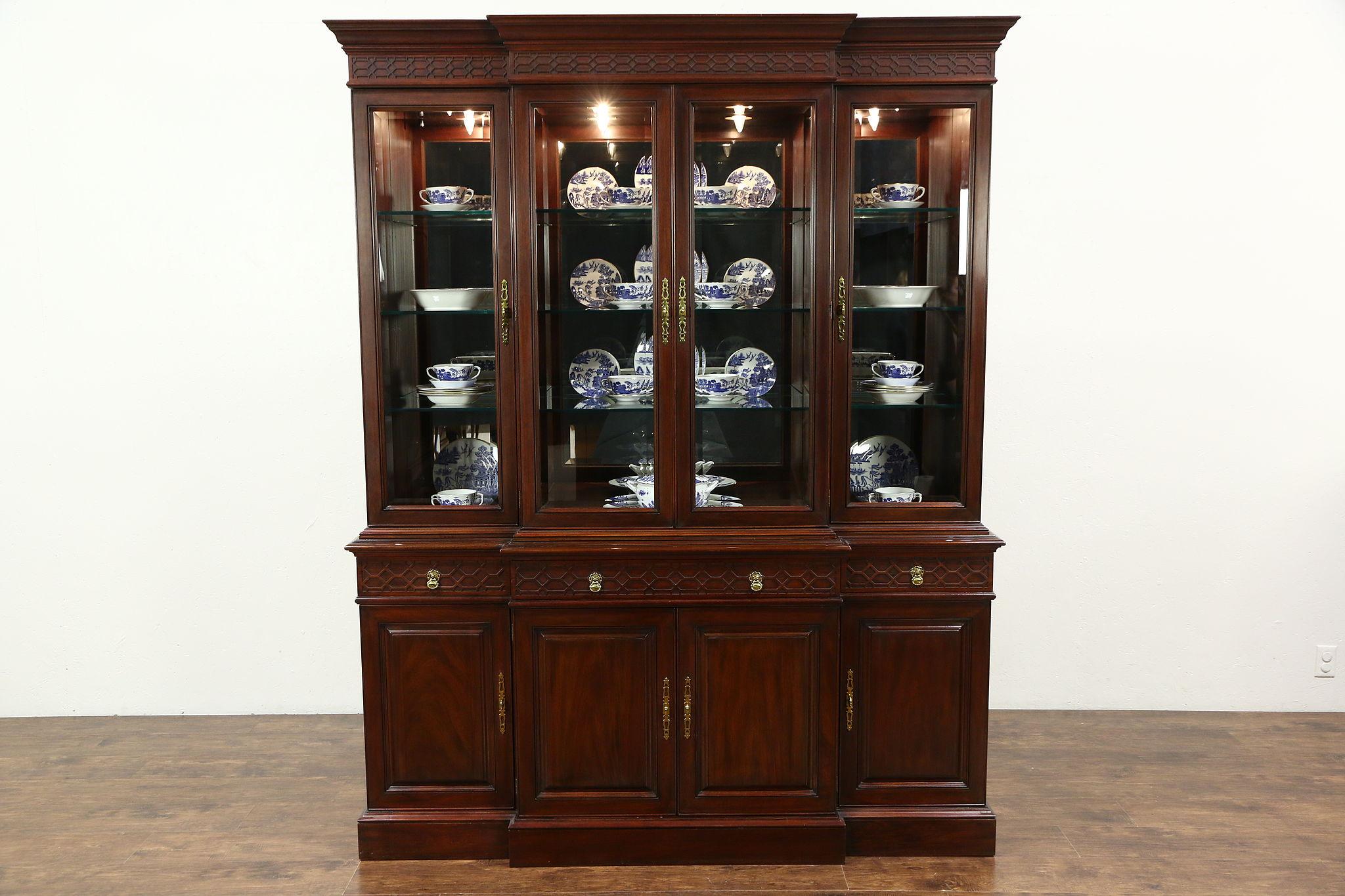 Henkel Harris Signed Mahogany Breakfront China Cabinet, Beveled Glass, 1996