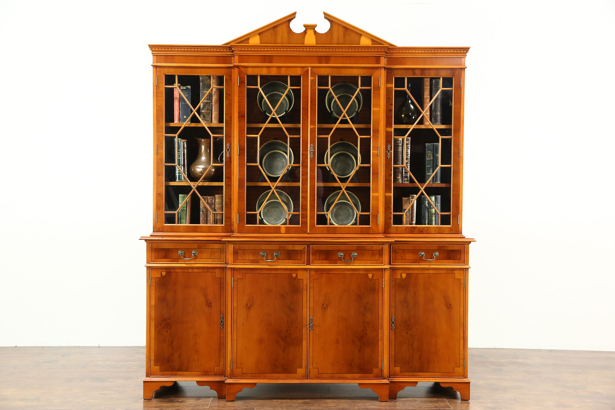 Breakfront Traditional China Cabinet Or Bookcase Yew Wood Richwoods Of London Photo