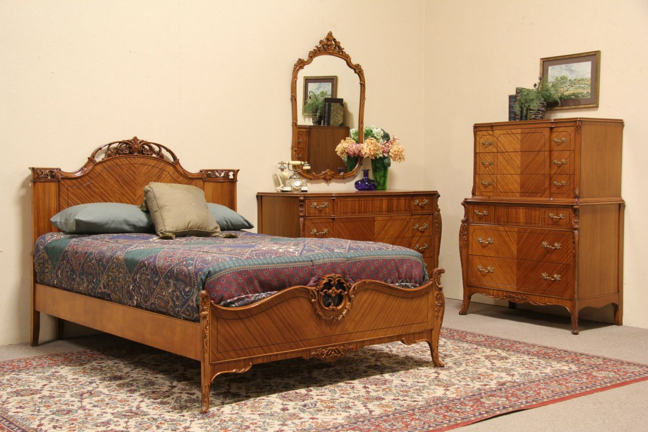 Sold french style 1940 vintage 4 pc full size bedroom Vintage looking bedroom furniture