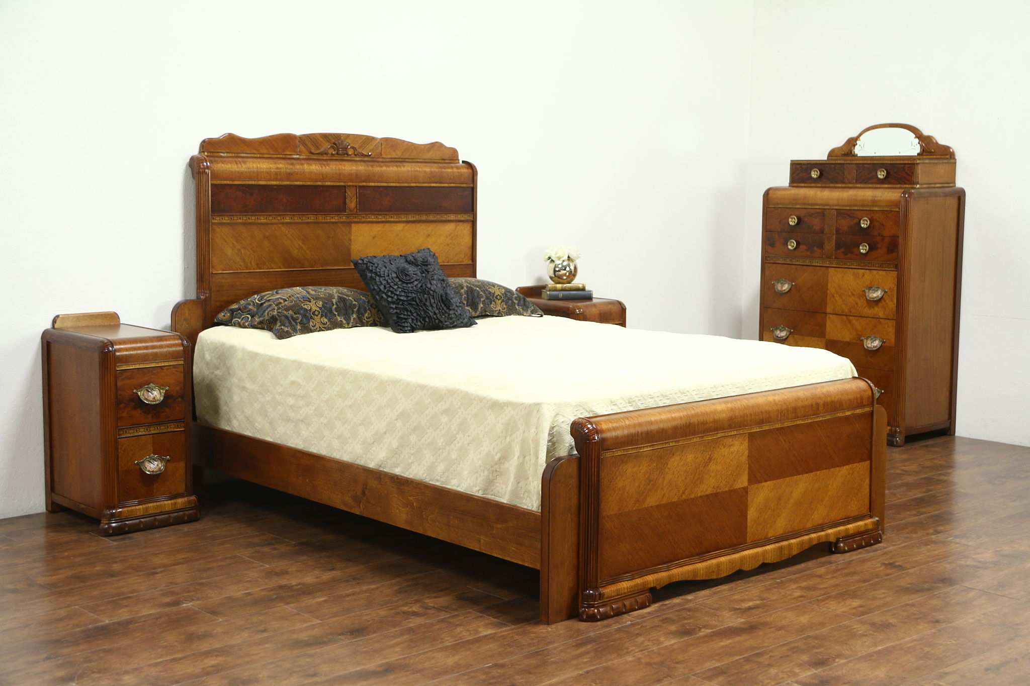 Sold Waterfall Art Deco Vintage Bedroom Set Queen Size Bed Tall Chest 2 Nightstands Harp Gallery Antiques Furniture