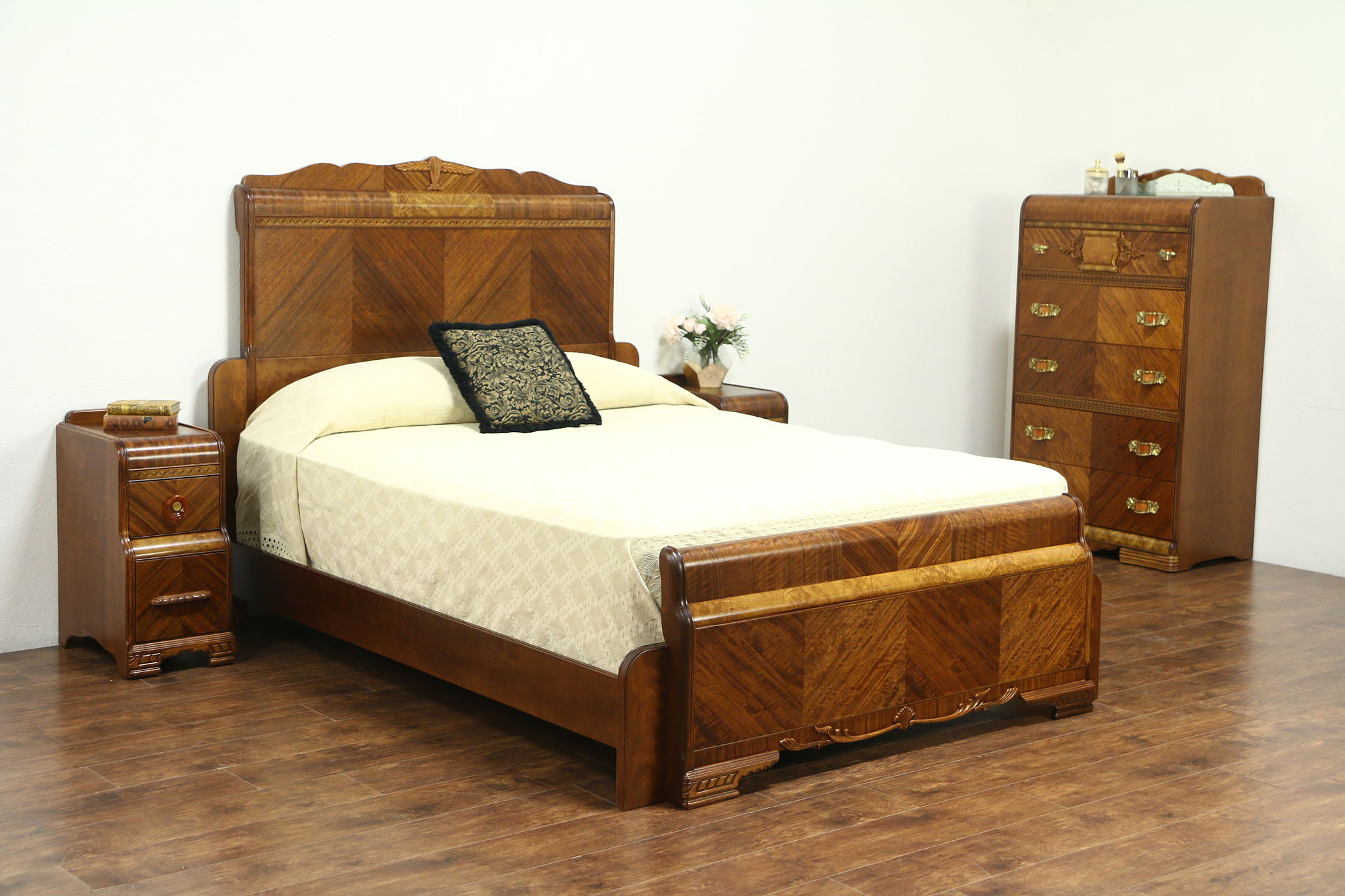 Sold Waterfall Art Deco Vintage Bedroom Set Queen Size Bed Chest 2 Nightstands Harp Gallery Antiques Furniture