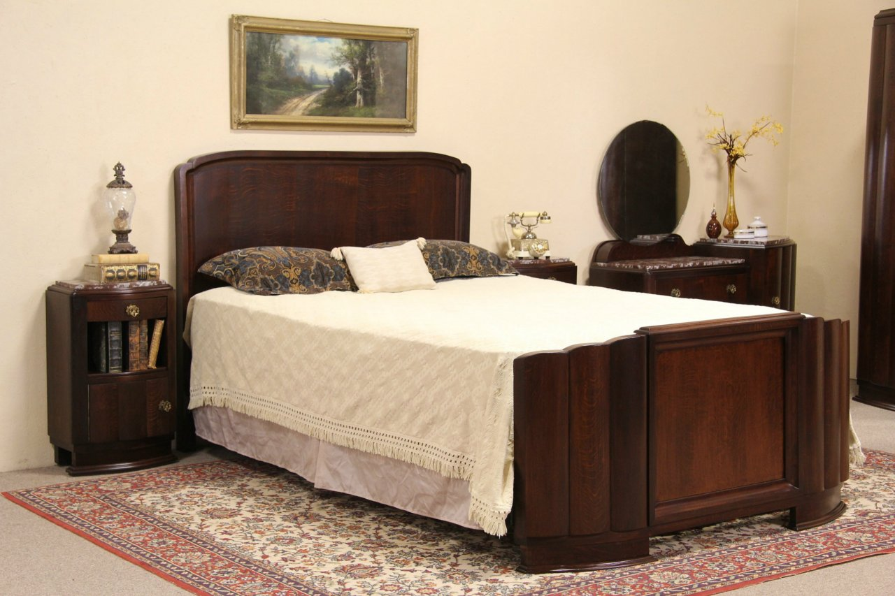 SOLD - Art Deco 1930 Vintage Bedroom Set, Queen Bed, Marble Top ...
