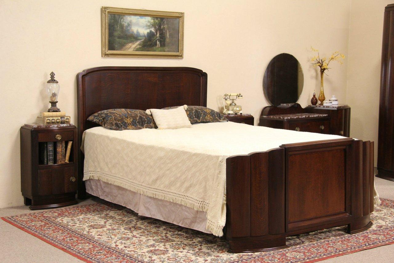 Art Deco 1930 Vintage Bedroom Set, Queen Bed, Marble Top Dresser U0026  Nightstands