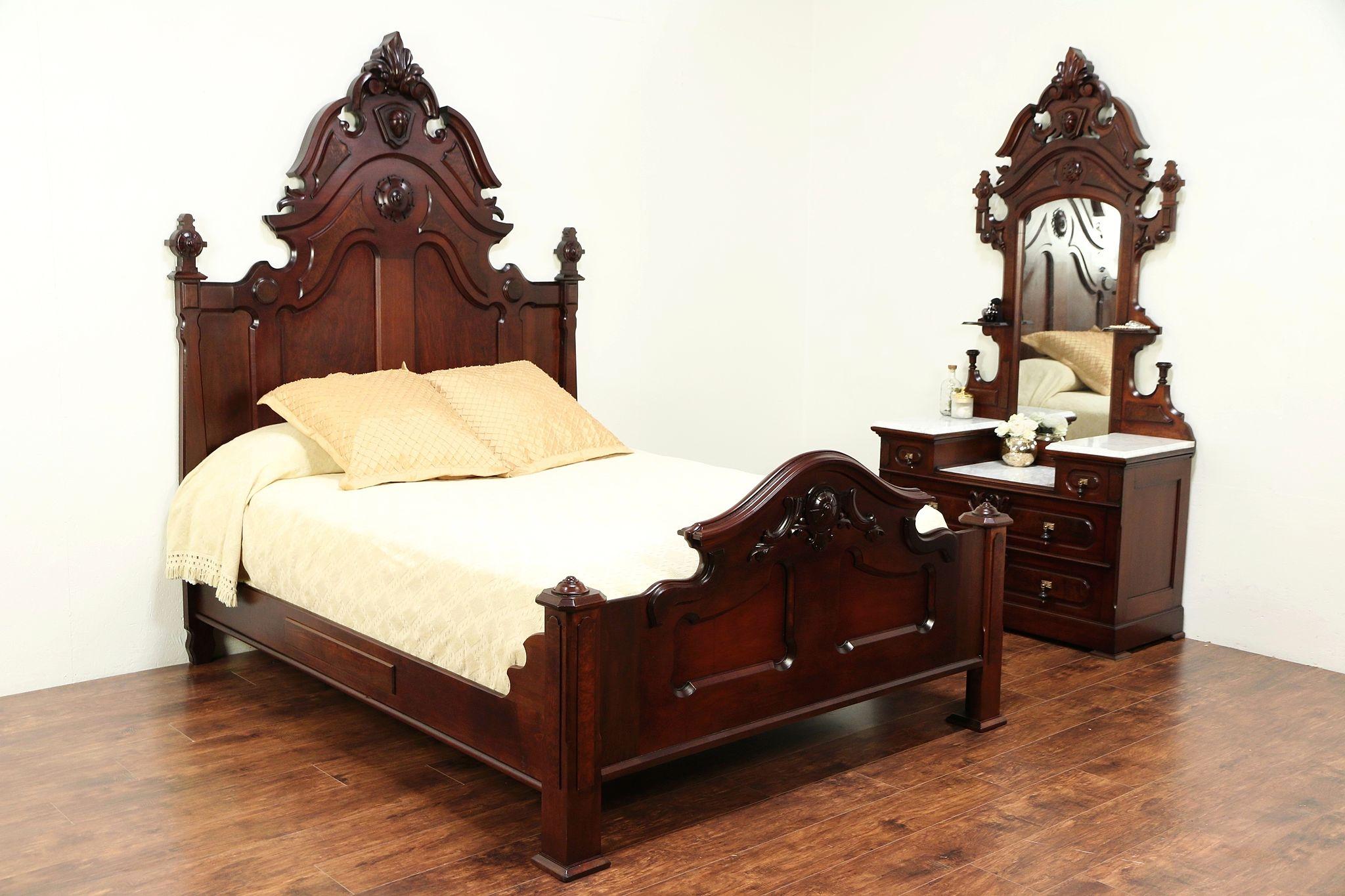 Victorian Antique Queen Size Walnut Bedroom Set Marble