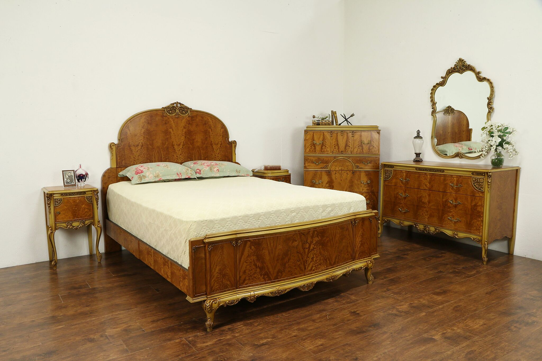 French Style Vintage Satinwood & Hand Painted Queen Size 6 Pc Bedroom Set  #31489