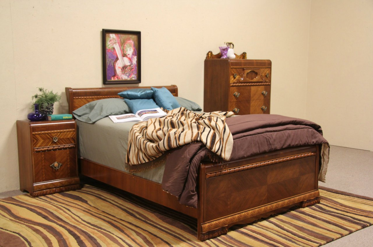 SOLD - Art Deco 1935 Waterfall Full Size 3 Pc Bedroom Set - Harp ...