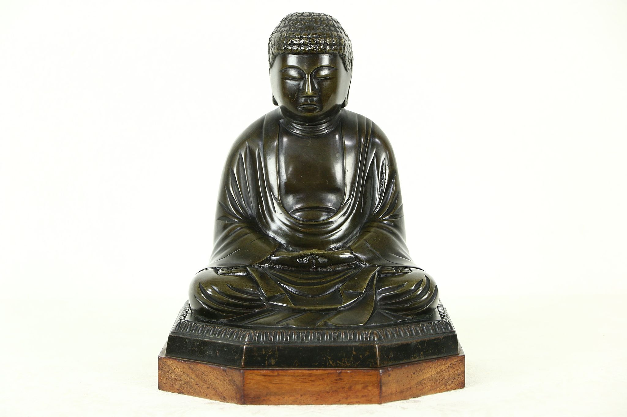 Bronze Statue Of Buddha, 1920 Antique Chinese Sculpture, Mahogany Base ...