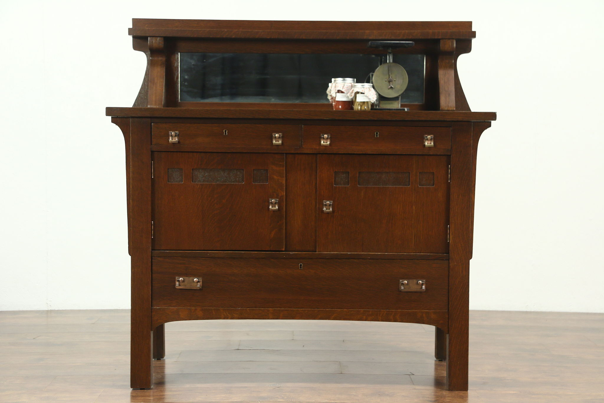Antique Buffet With Mirror >> Sold Arts Crafts Mission Oak Antique Sideboard Server Or