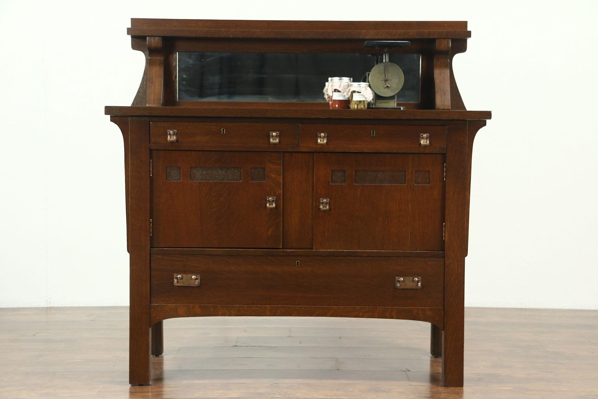 Arts Crafts Mission Oak Antique Sideboard Server Or Craftsman Buffet Mirror