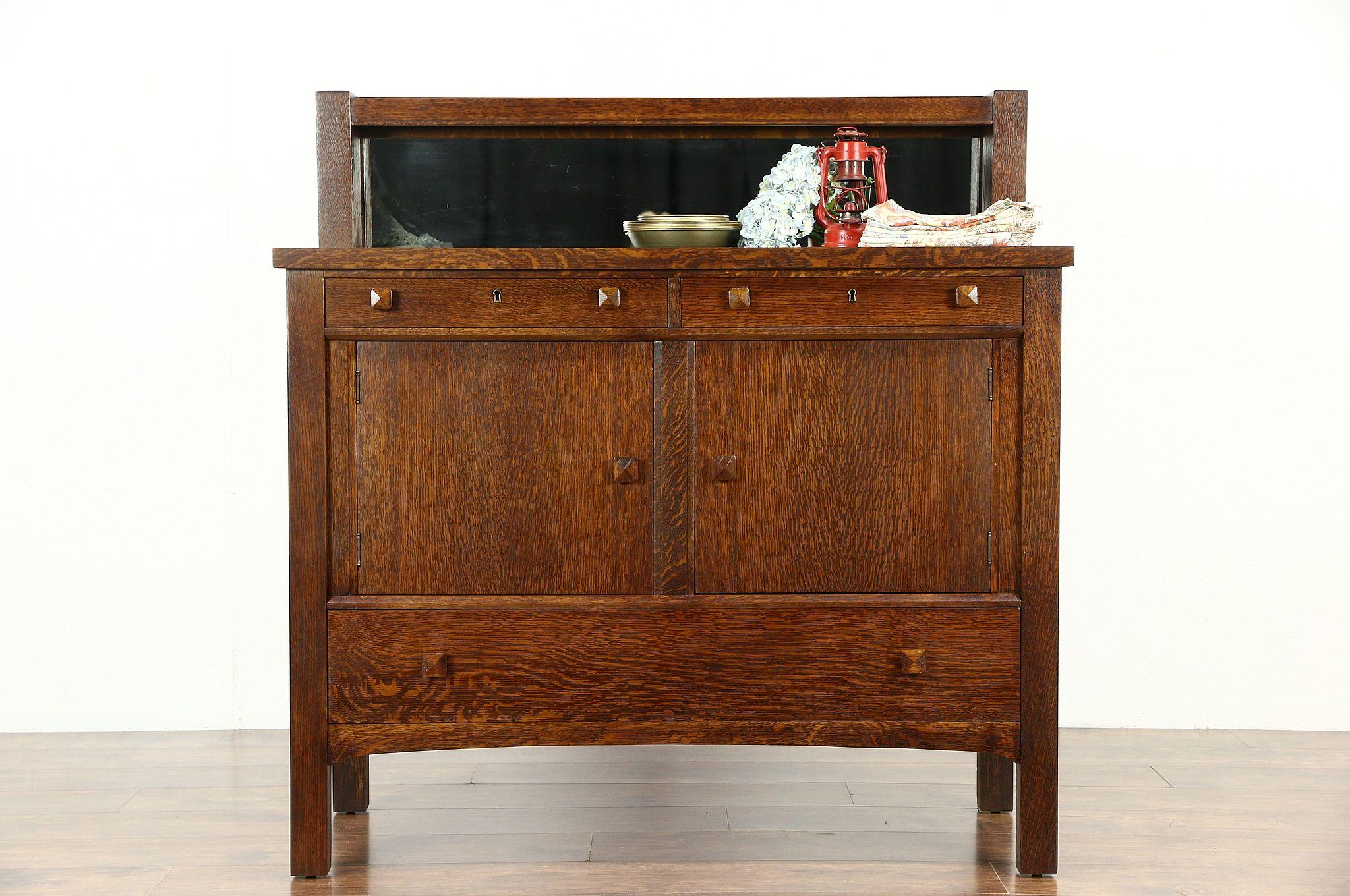 Antique arts and crafts furniture - Arts Crafts Mission Oak Antique Craftsman Sideboard Server Or Buffet