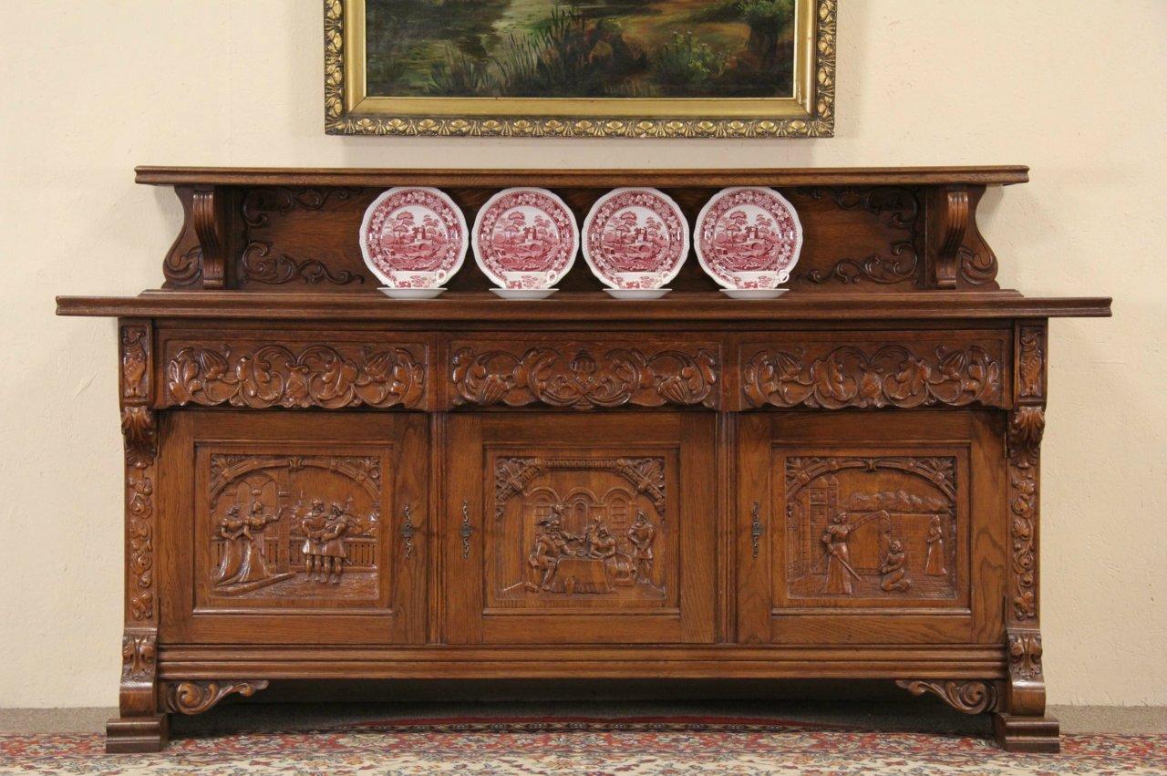 sold dutch renaissance carved oak 1910 antique sideboard server or tv console harp gallery. Black Bedroom Furniture Sets. Home Design Ideas