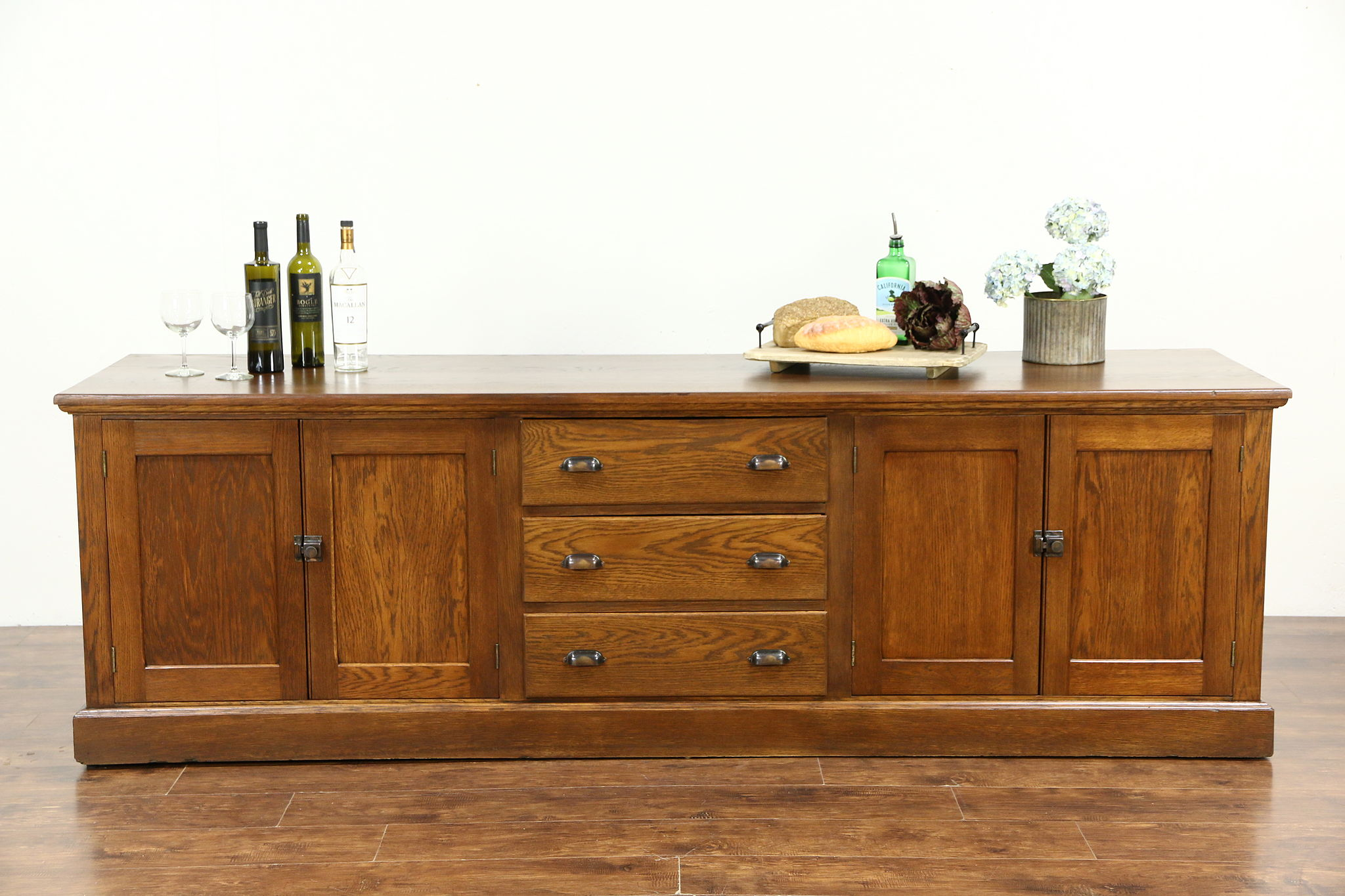 Oak 1900 Antique 8u0027 Kitchen Counter, Sideboard Or TV Console Cabinet
