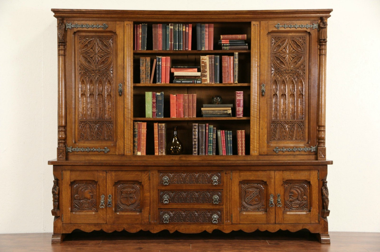 Gothic Oak 1930u0027s Vintage Dutch Bookcase Library Cabinet, Carved Figures