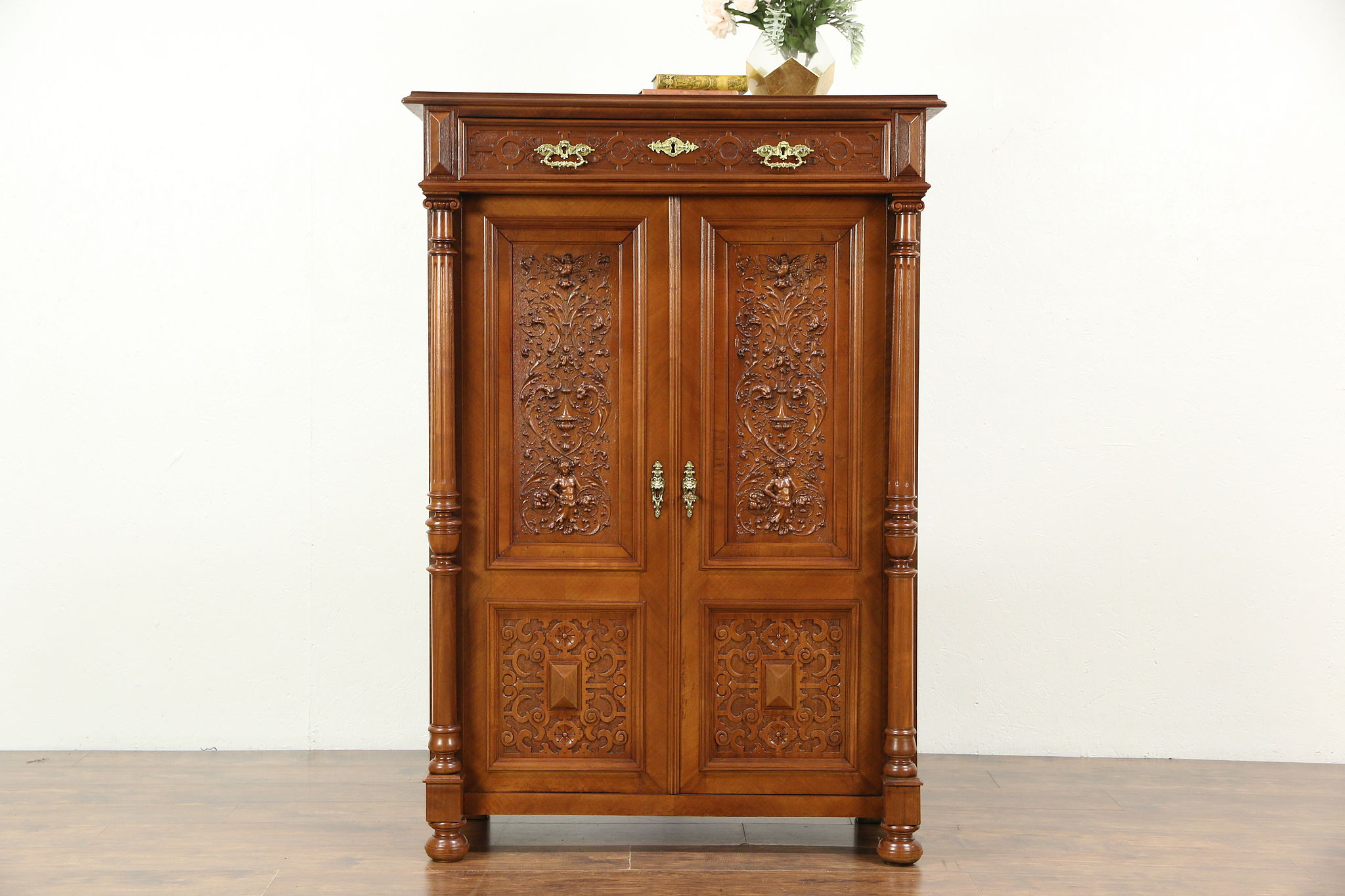 Good Walnut Antique 1880 Armoire Cabinet, Carved Birds U0026 Figures, ...