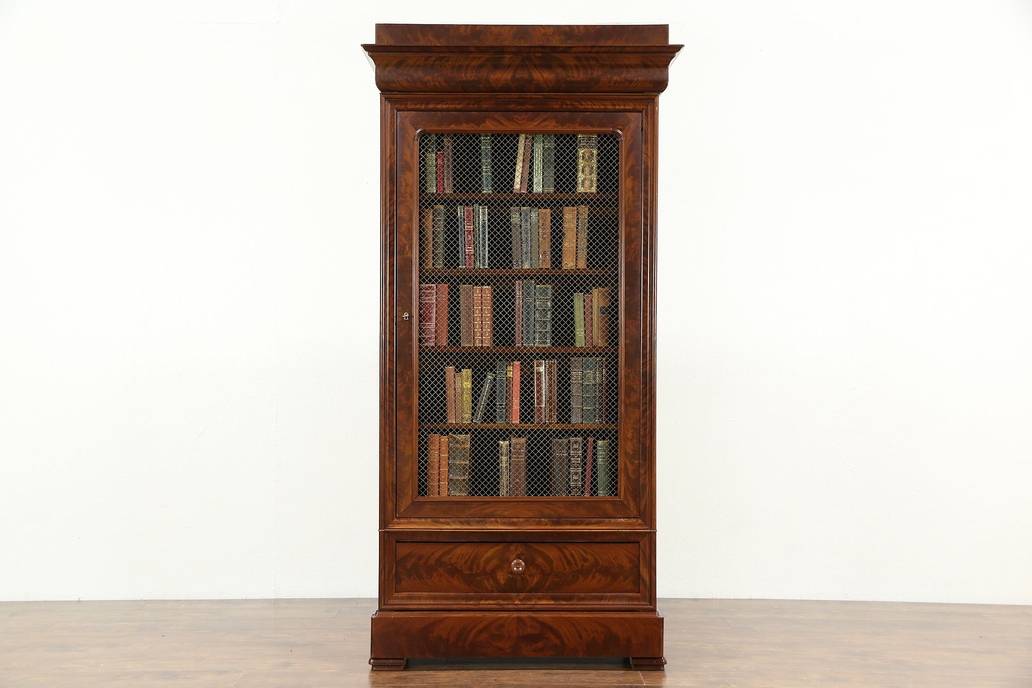 Empire Mahogany Antique Armoire Or Library Bookcase, Adjustable Shelves, ...