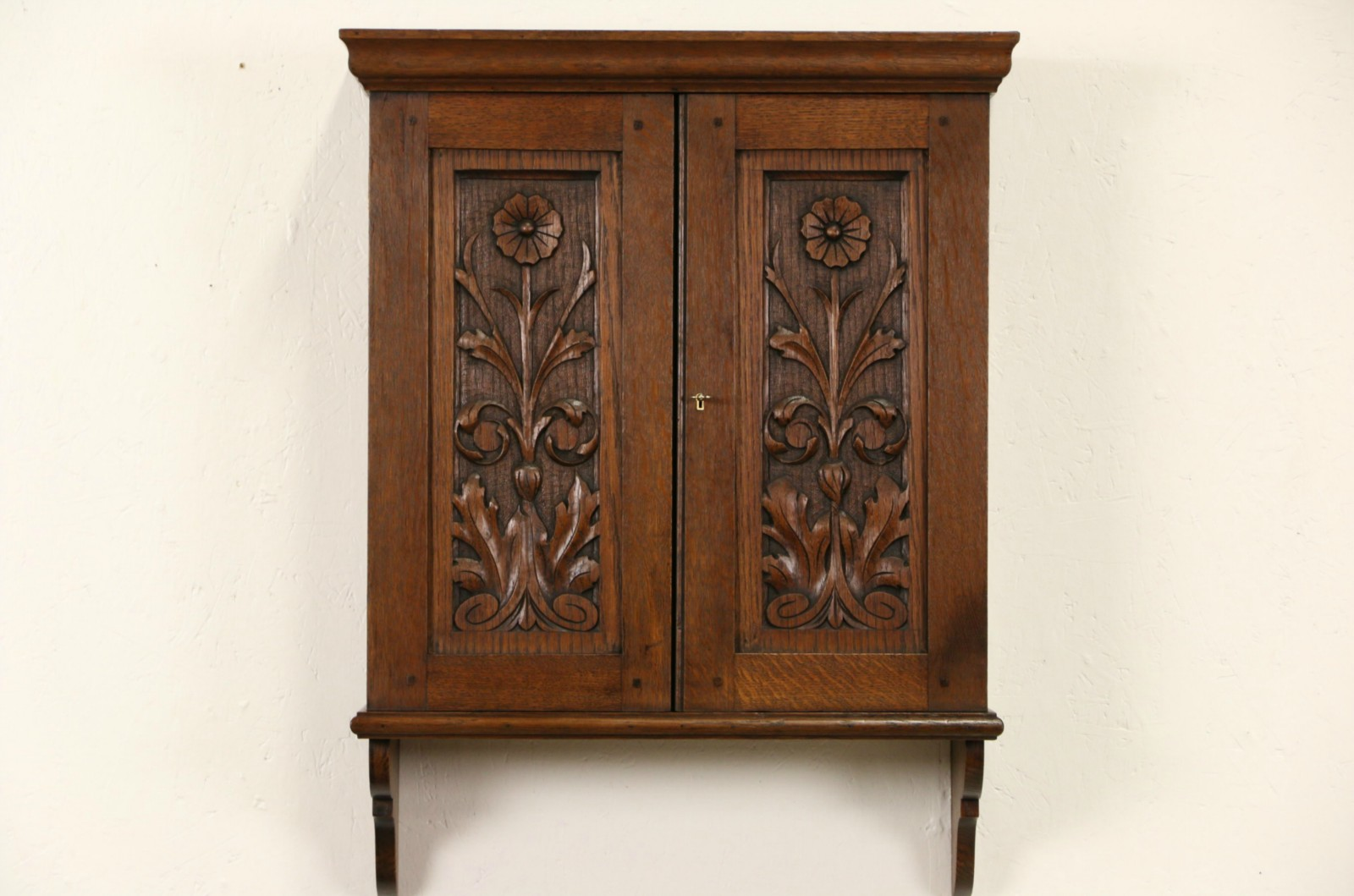 SOLD   Carved Oak Scandinavian 1890u0027s Antique Hanging Cupboard, Wall Cabinet,  Pipe Rack   Harp Gallery