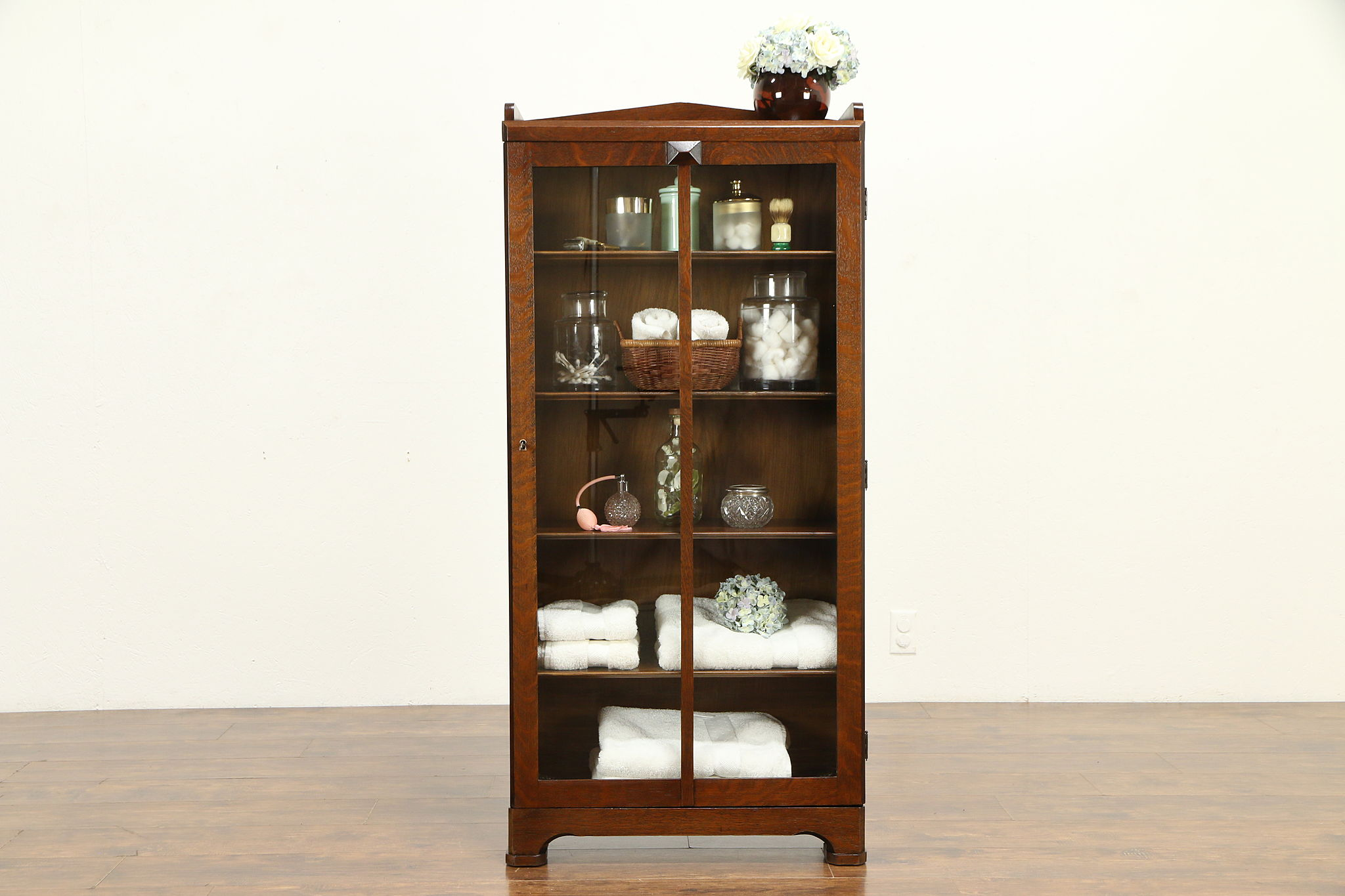 Arts Crafts Mission Oak Antique Craftsman Bookcase Bath Cabinet 32136