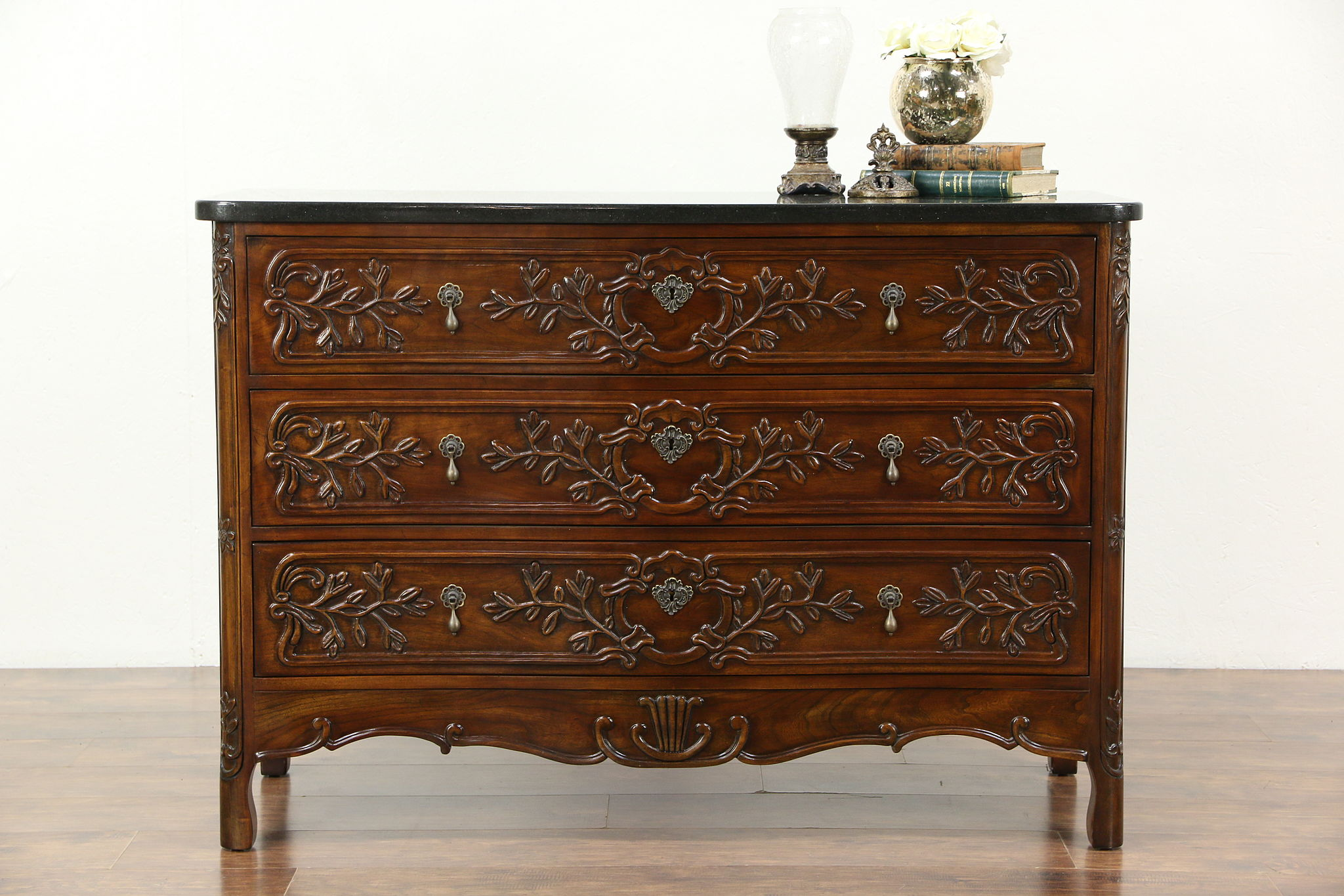 Country French Vintage Carved Cherry Chest Commode Or Dresser Granite Top Photo
