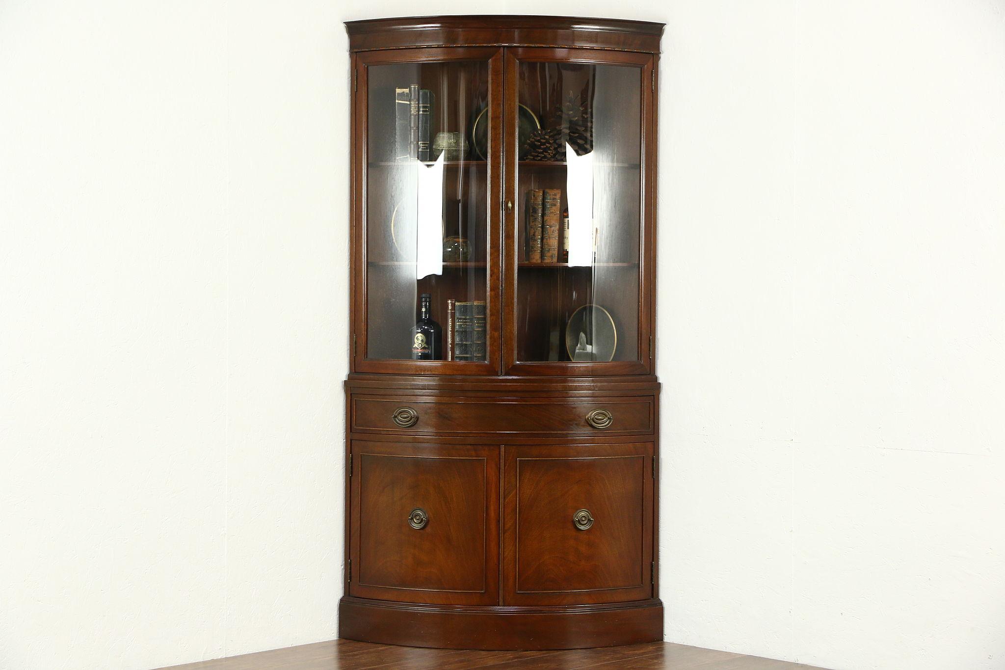 Sold Corner Cabinet Curved Glass Traditional Vintage Cupboard