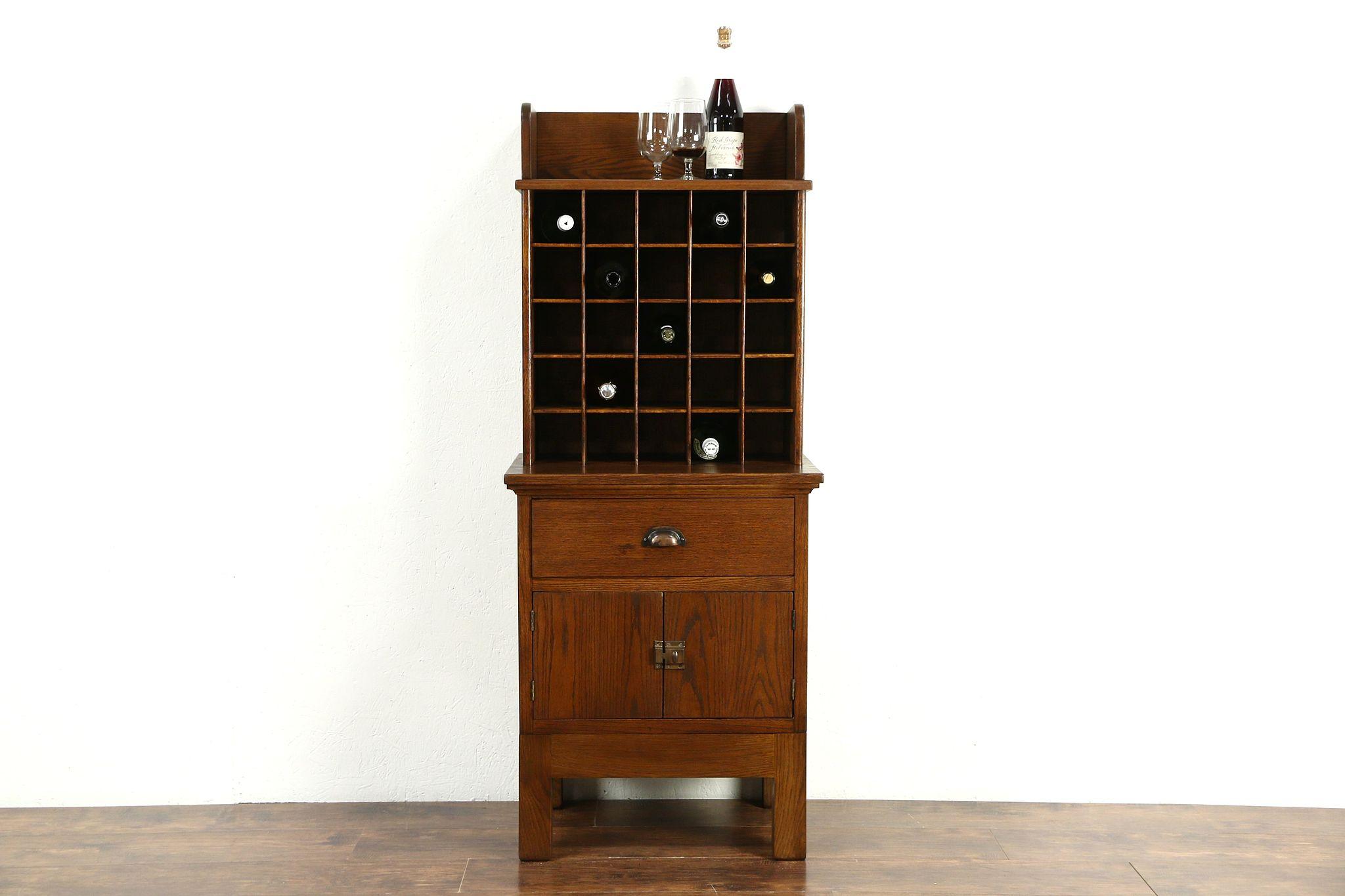 Oak Antique 1915 Post Office Mailbox Sorter, Wine Cabinet