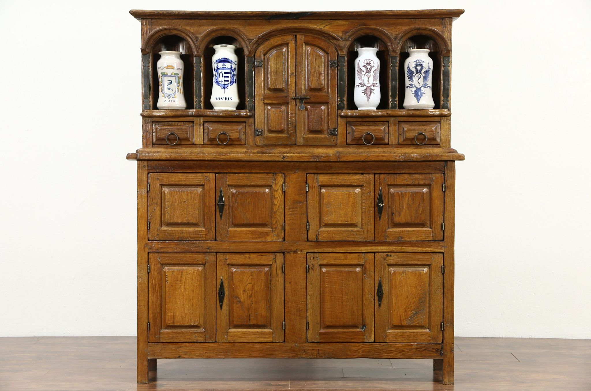 Sold Apothecary Cabinet Teak Vintage Cupboard With Drug Jars Harp Gallery Antiques Furniture
