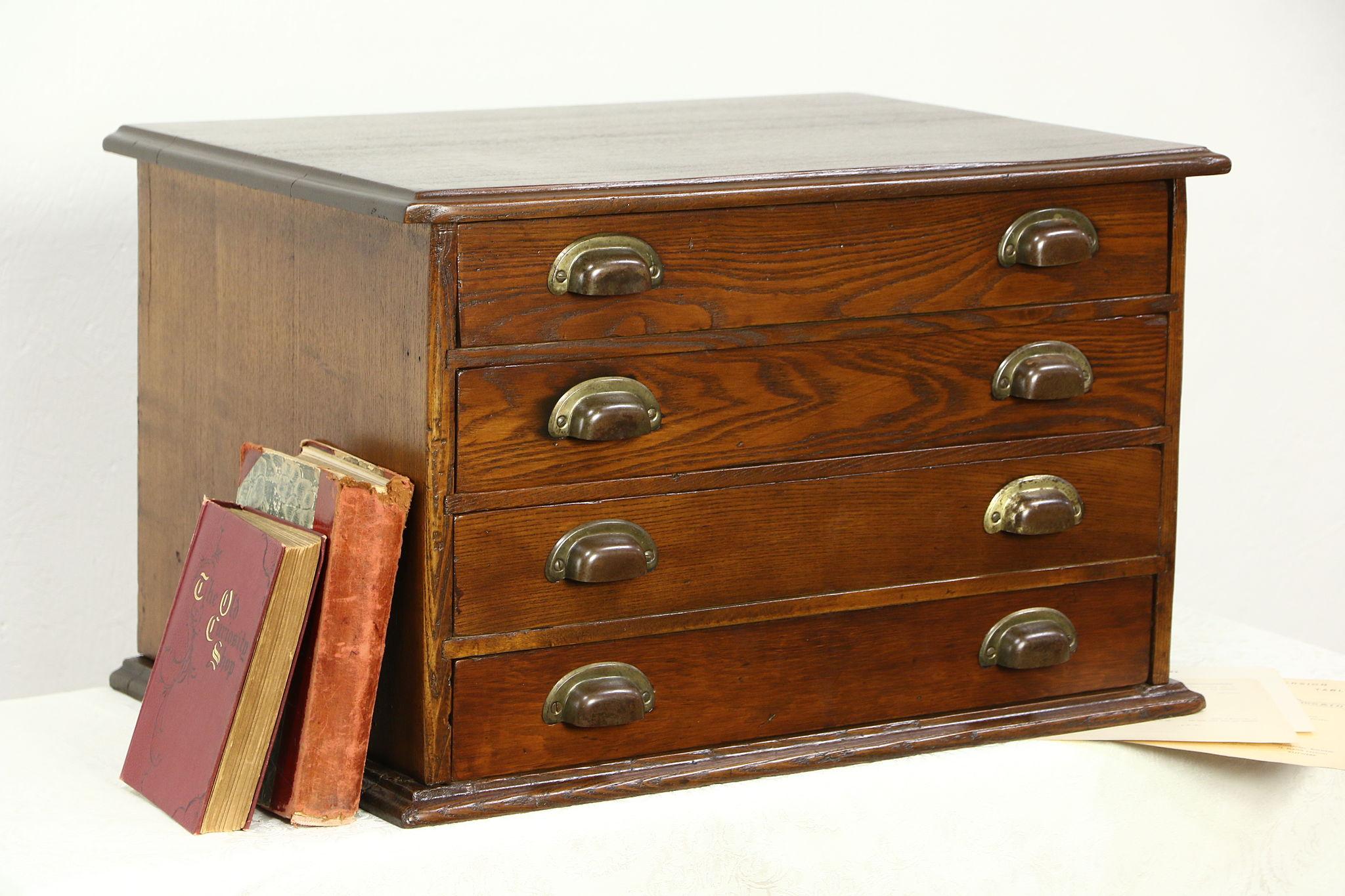 Sold Oak 1890 Antique Spool Cabinet Jewelry Or