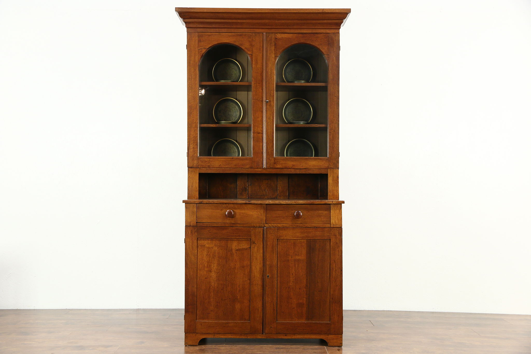 Sold Pennsylvania Walnut 1850s Antique Bookcase Or Cupboard Wavy