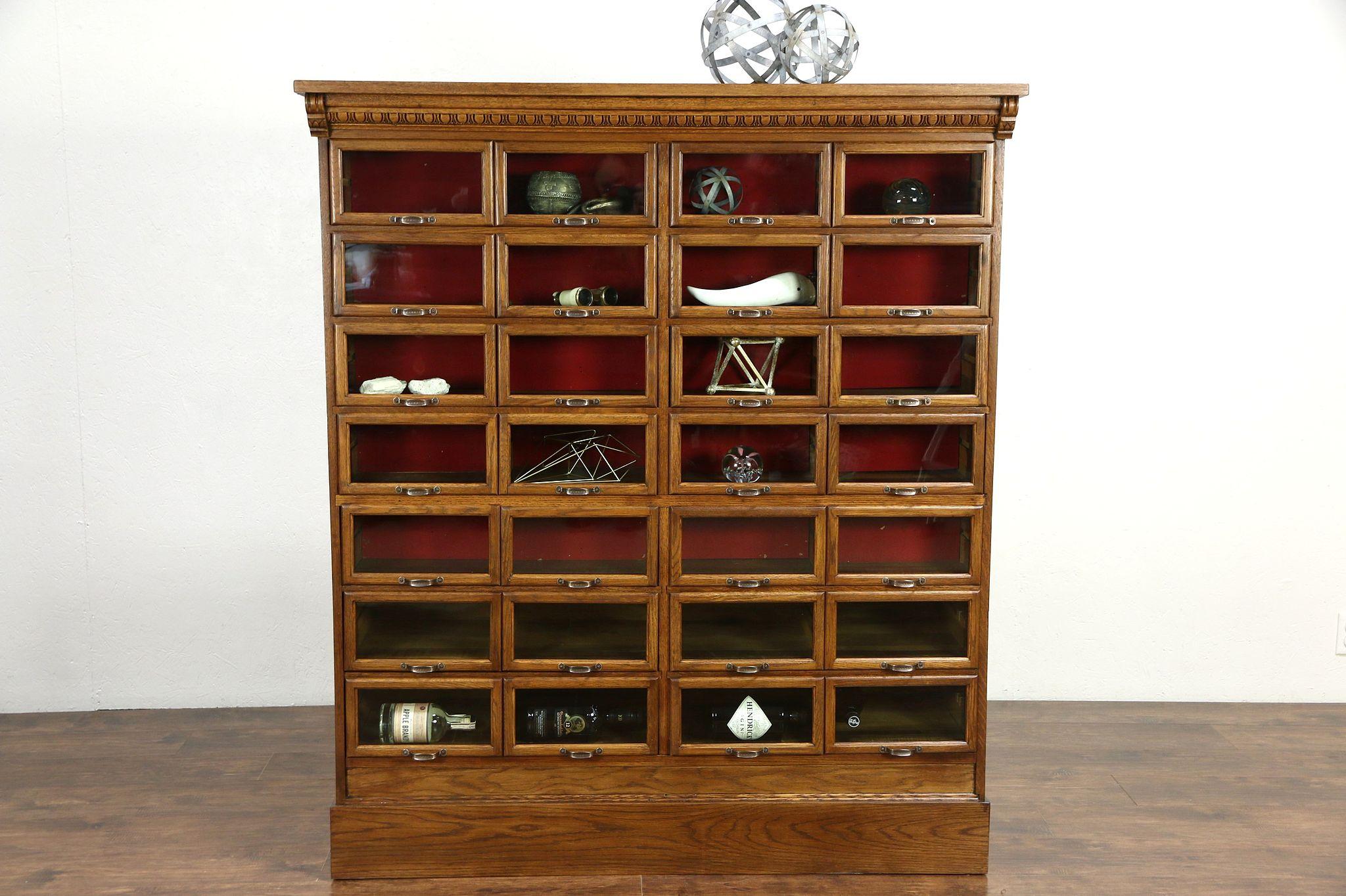 Oak Antique File Cabinet, 28 Glass Front Display Drawers Signed Warren, ...