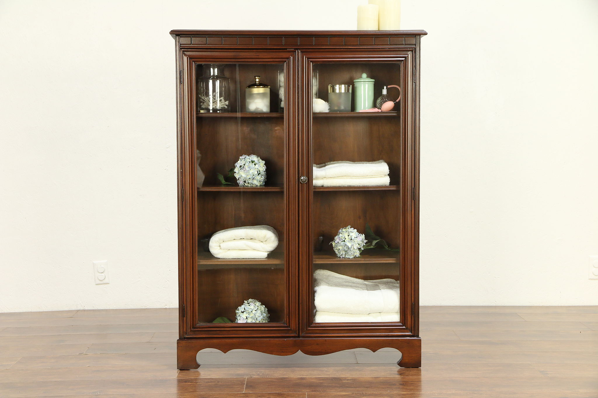 huge selection of 4f240 336c3 Traditional Antique Bookcase or Bathroom Cabinet, 2 Glass Doors #30399